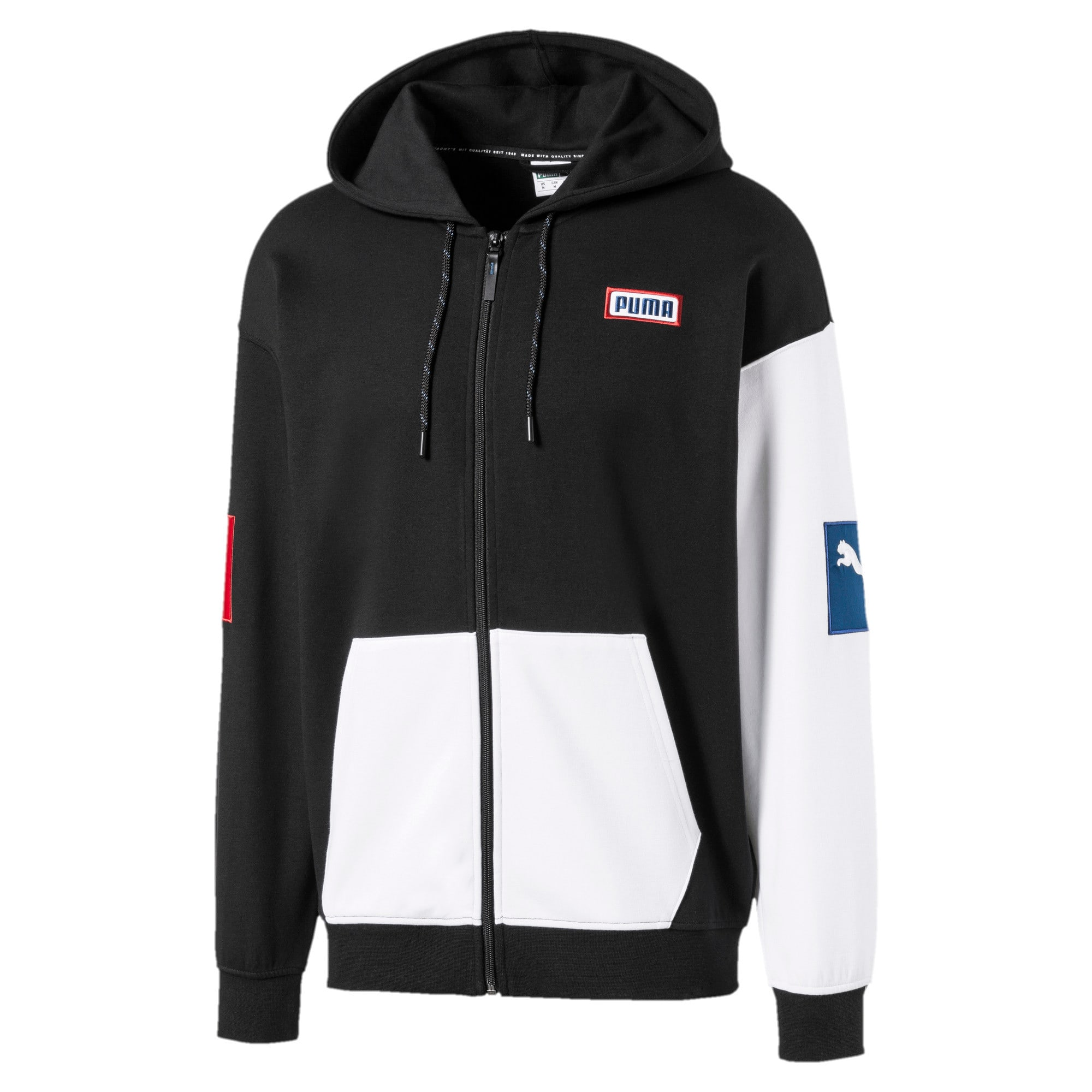 Thumbnail 1 of Colour Block Hooded Men's Sweat Jacket, Puma Black, medium