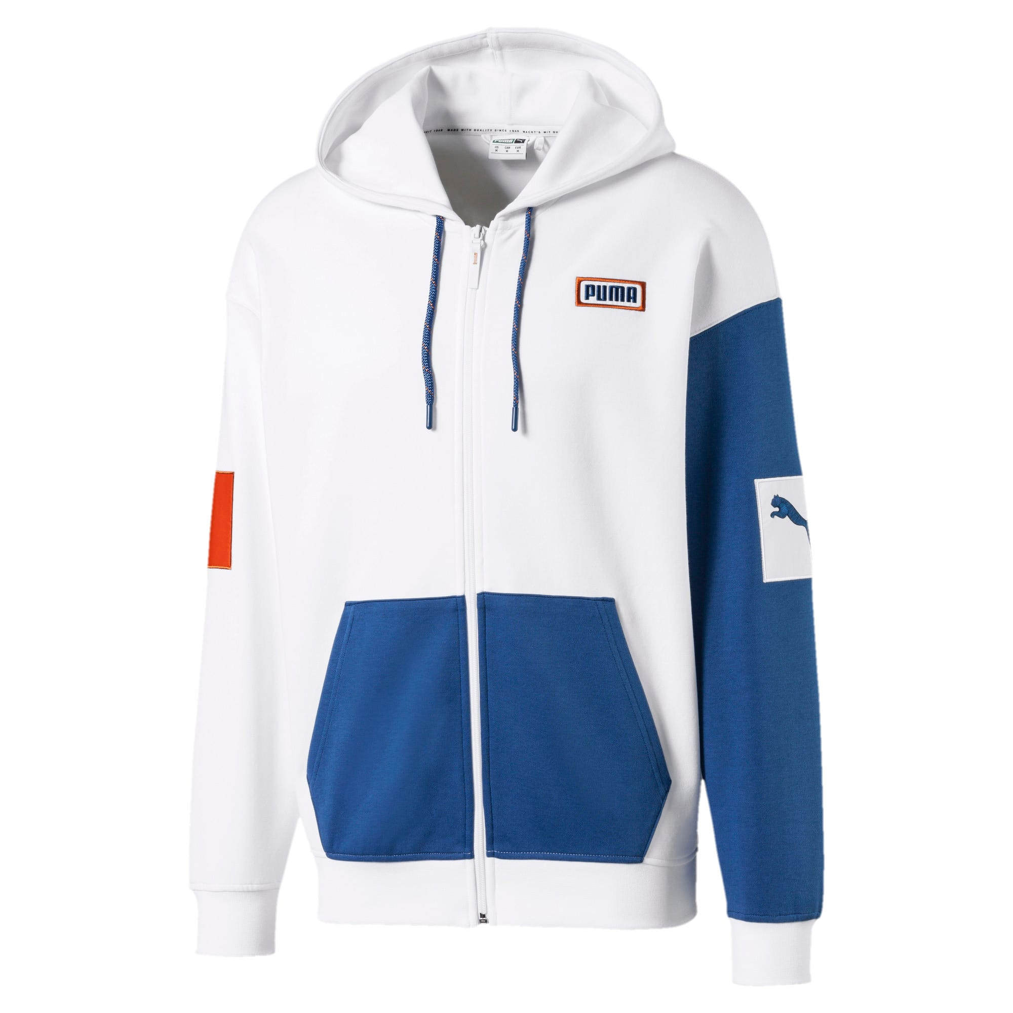 Thumbnail 1 of Colour Block Hooded Men's Sweat Jacket, Puma White, medium