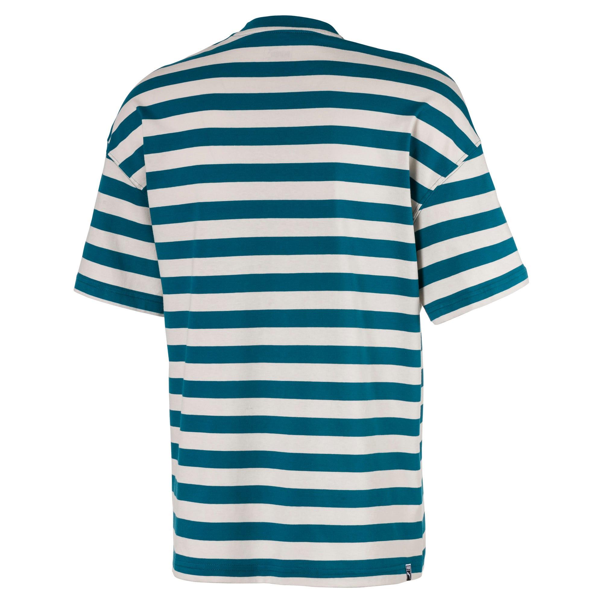 Thumbnail 2 of Breton Stripes Boxy Men's Tee, Blue Coral-Dove, medium