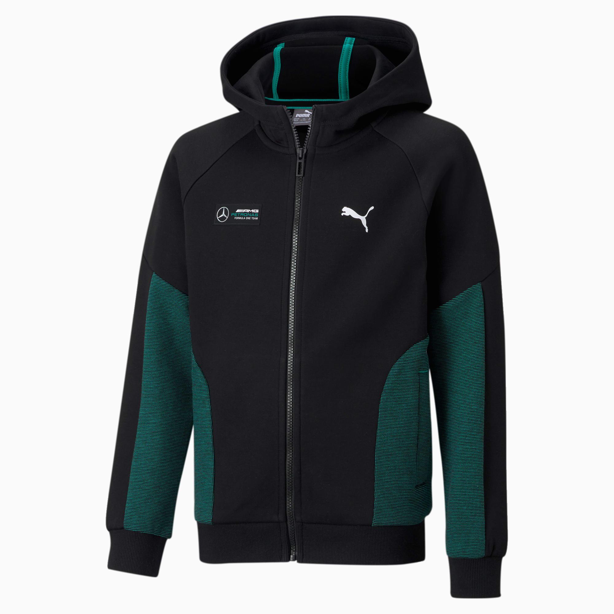 Mercedes F1 Hooded Youth Sweat Jacket | Puma Black | PUMA Back to ...