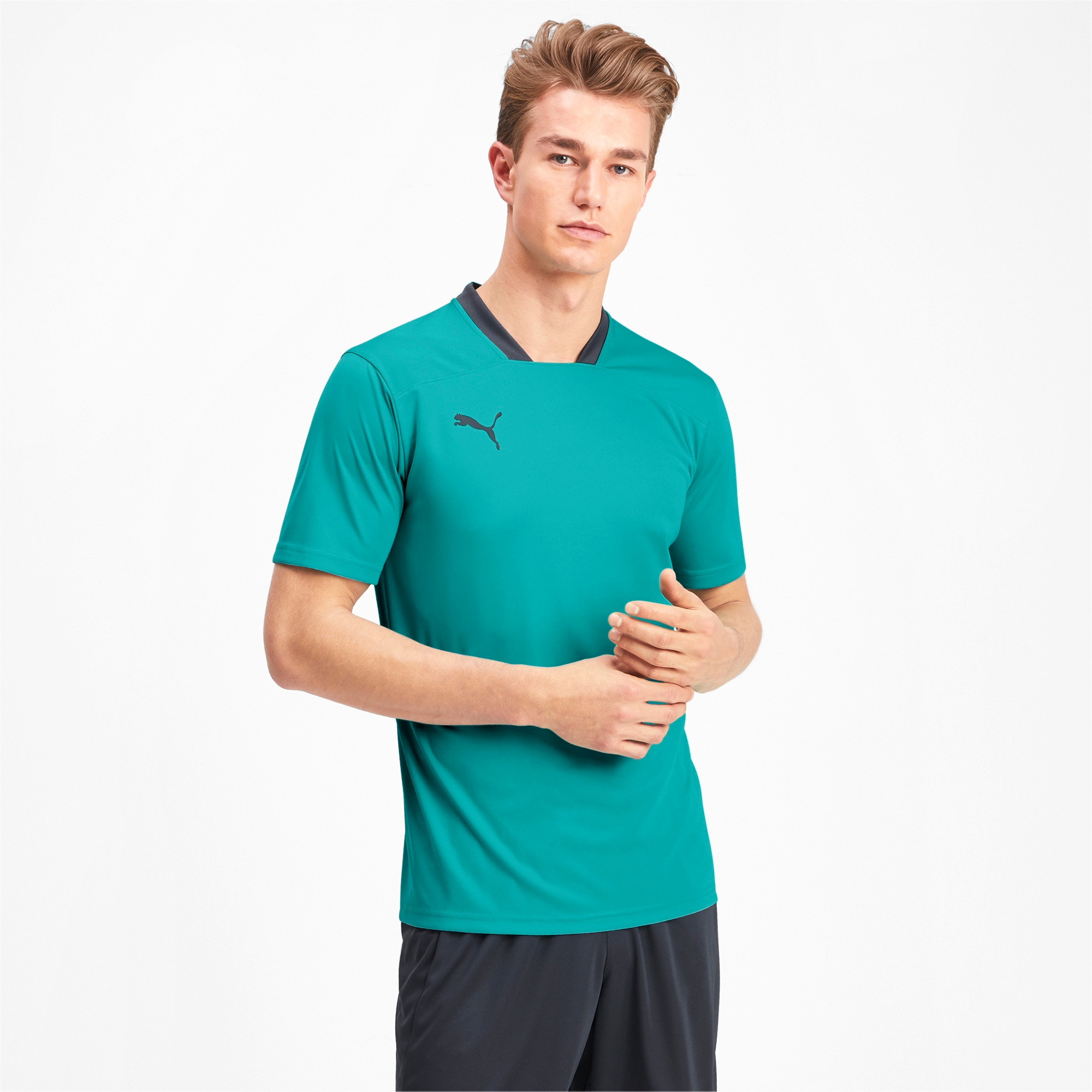 Thumbnail 1 of Men's Training Tee, Blue Turquoise-Ebony, medium