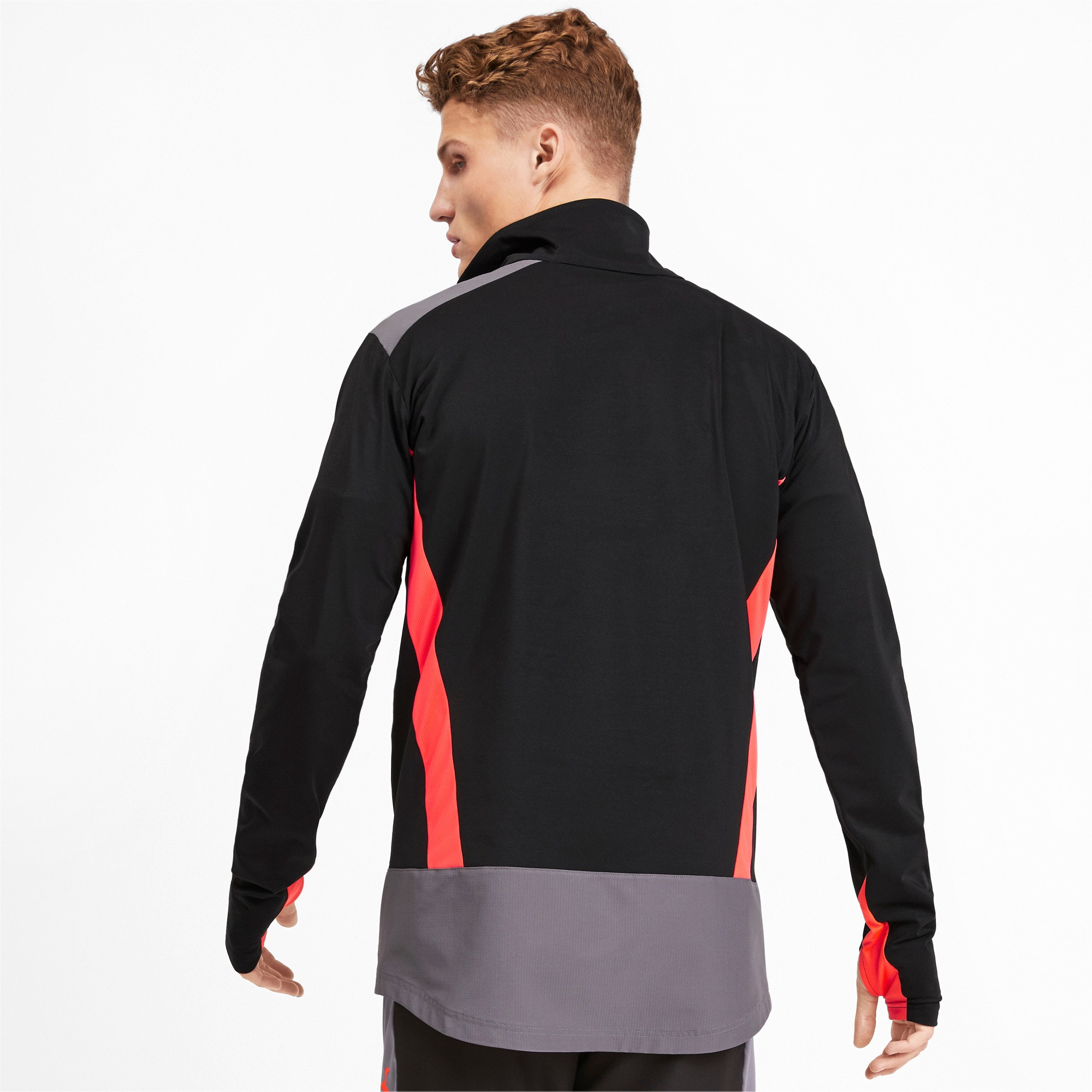 Thumbnail 2 of Quarter Zip Men's Top, Puma Black-Nrgy Red, medium