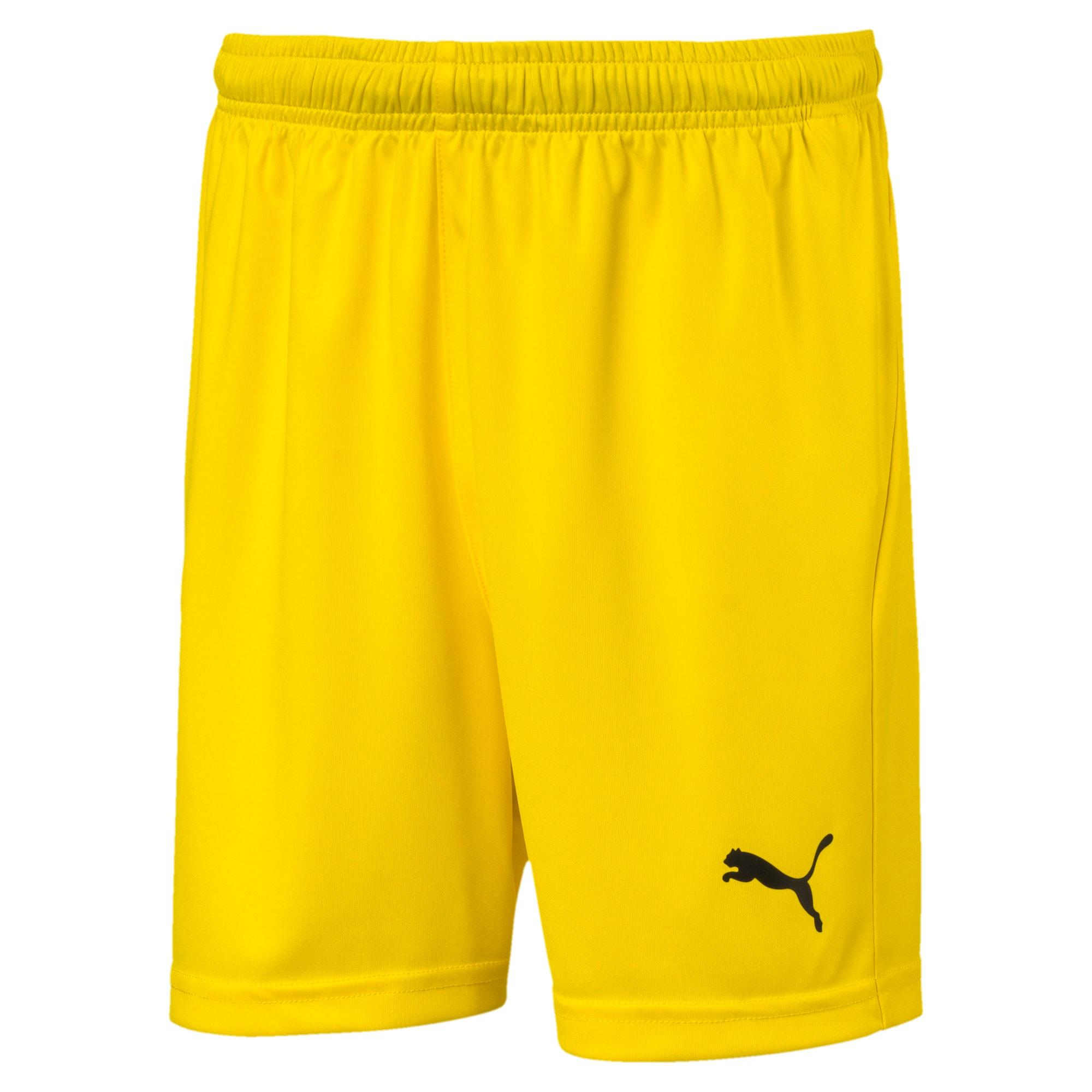 Thumbnail 1 of Liga Core Junior Football Shorts, Cyber Yellow-Puma Black, medium