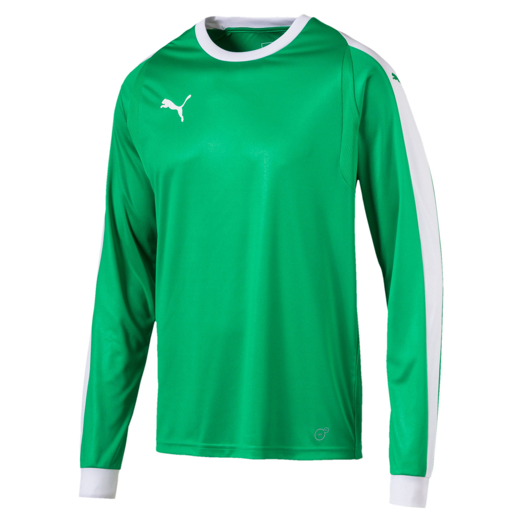 Thumbnail 1 of LIGA Long Sleeve Men's Football Goalkeeper Jersey, Bright Green-Puma White, medium