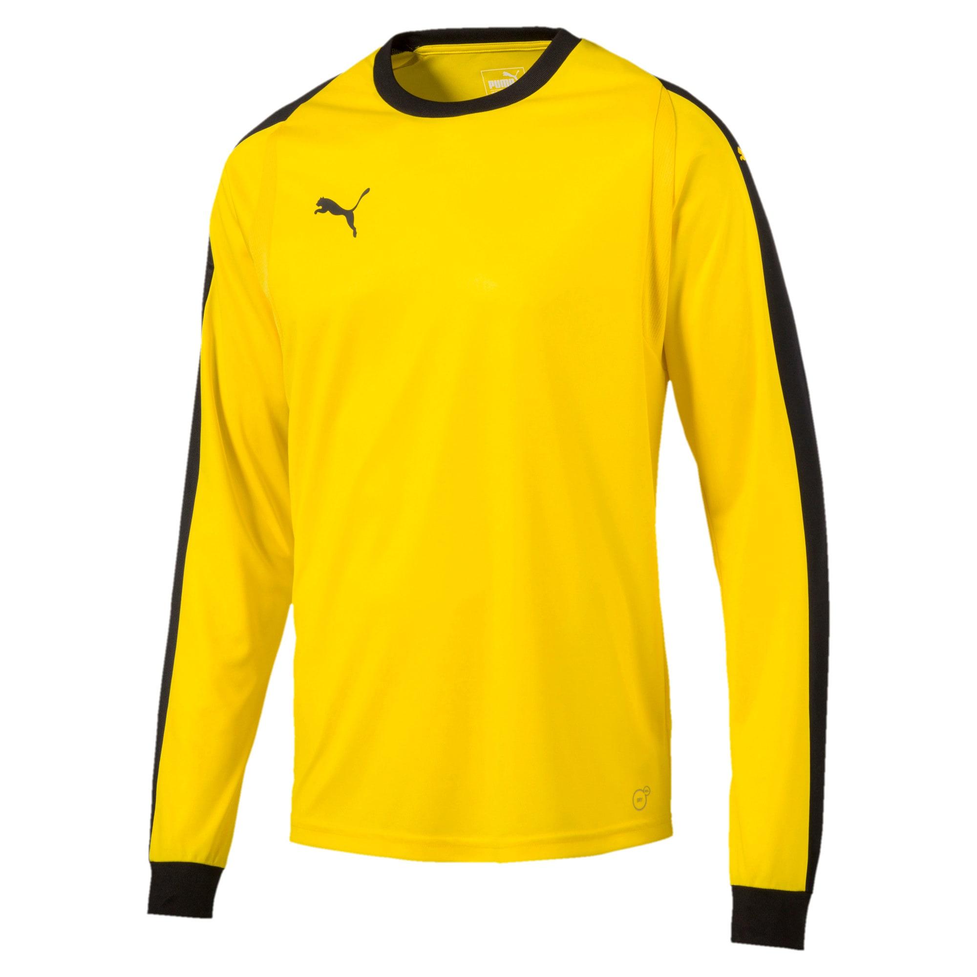 Thumbnail 1 of LIGA Long Sleeve Men's Football Goalkeeper Jersey, Cyber Yellow-Puma Black, medium
