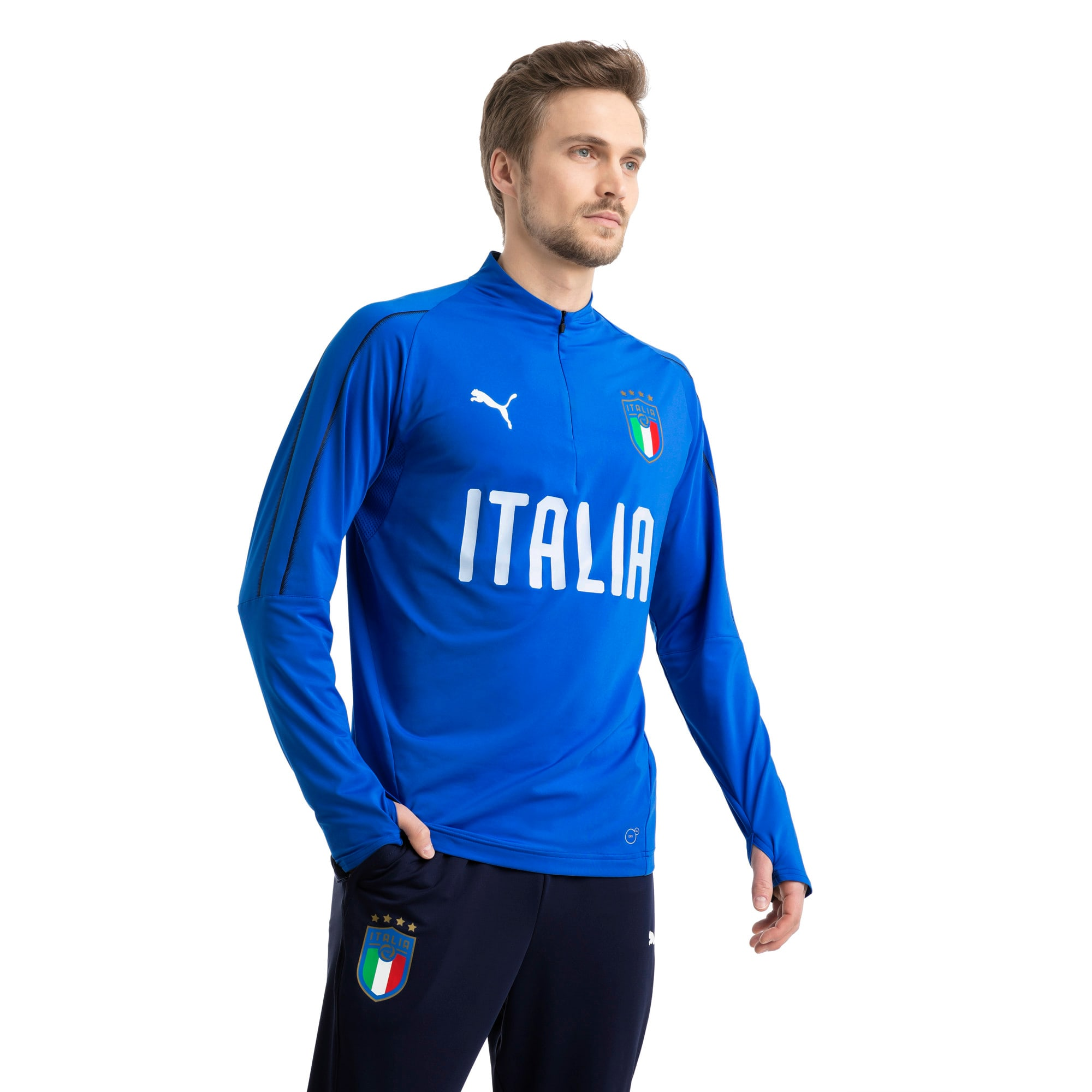 Thumbnail 2 of Italia 1/4 Zip Training Top, Team Power Blue-White, medium