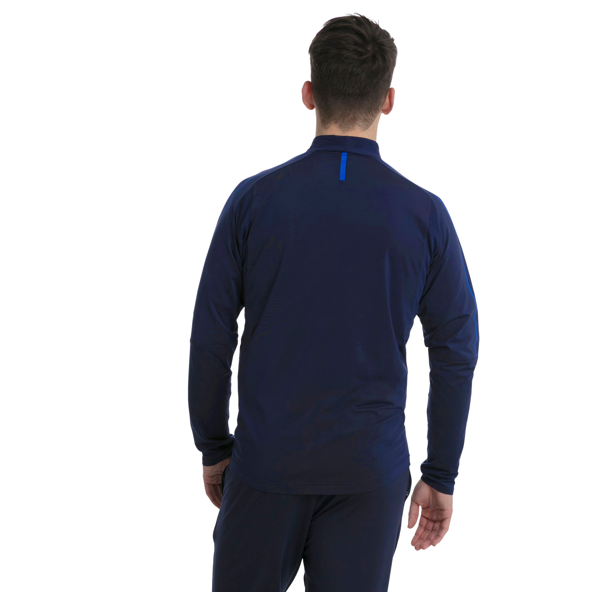 Thumbnail 3 of Italia 1/4 Zip Training Top, Peacoat-Team Power Blue, medium