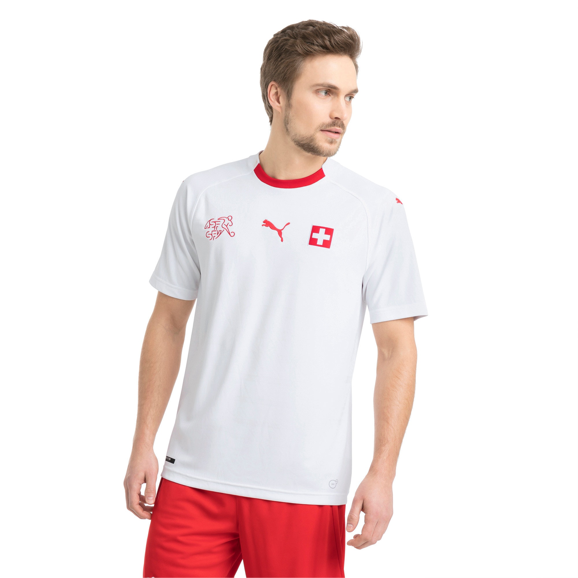 Thumbnail 1 of Switzerland Men's Away Replica Jersey, Puma White-Puma Red, medium