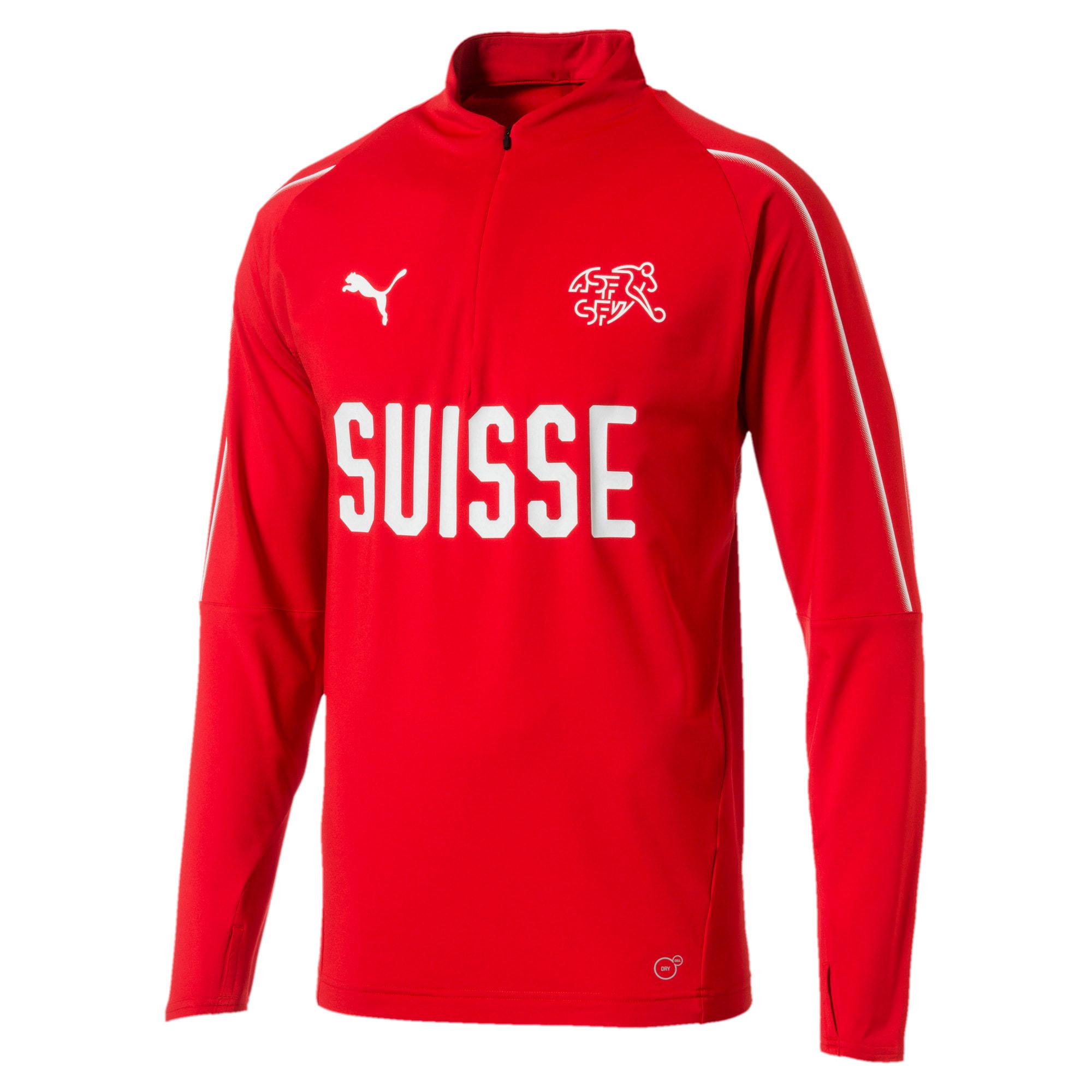 Thumbnail 1 of Switzerland 1/4 Zip Training Top, Puma Red-Puma White, medium