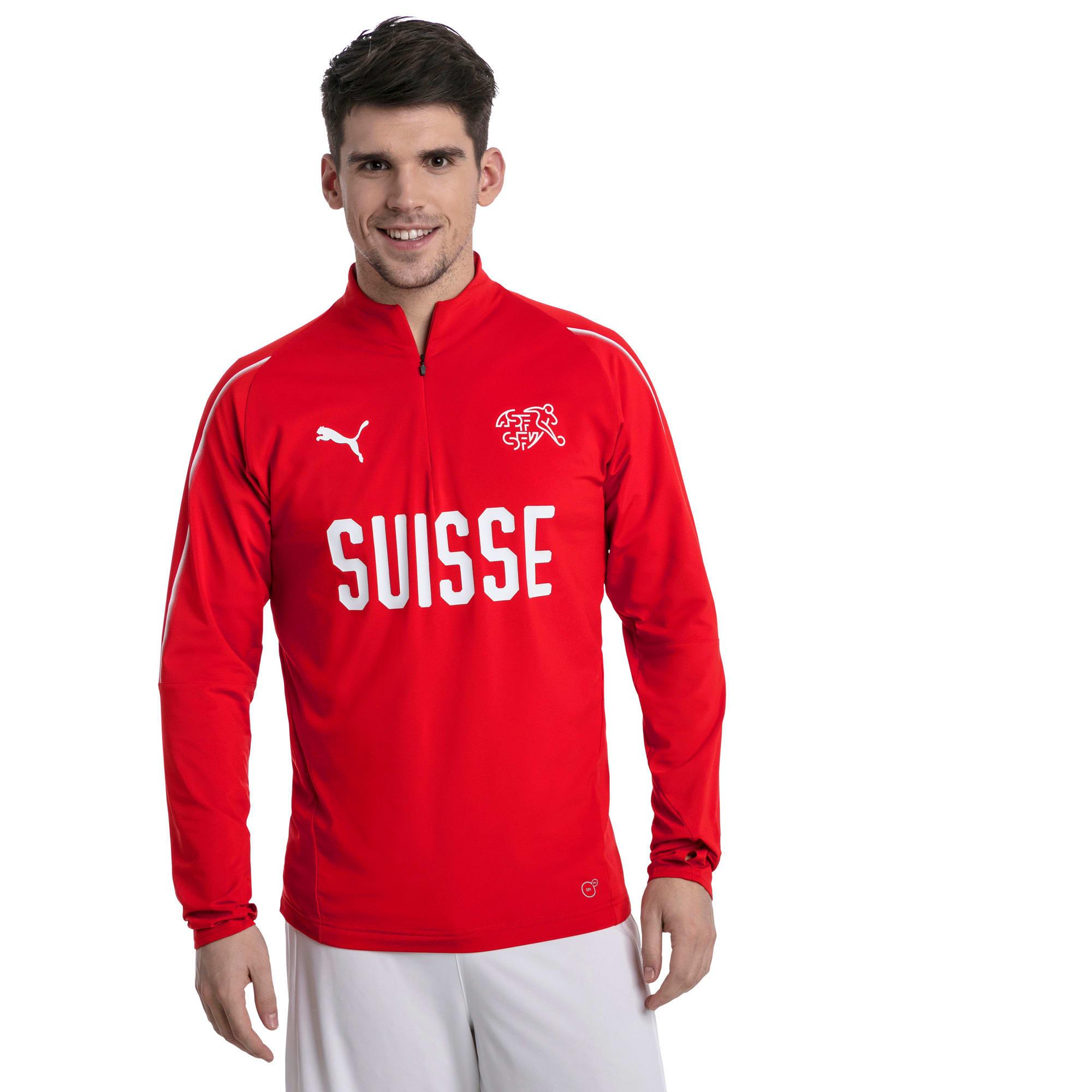 Thumbnail 2 of Trainingstop van Zwitserland met korte rits, Puma Red-Puma White, medium