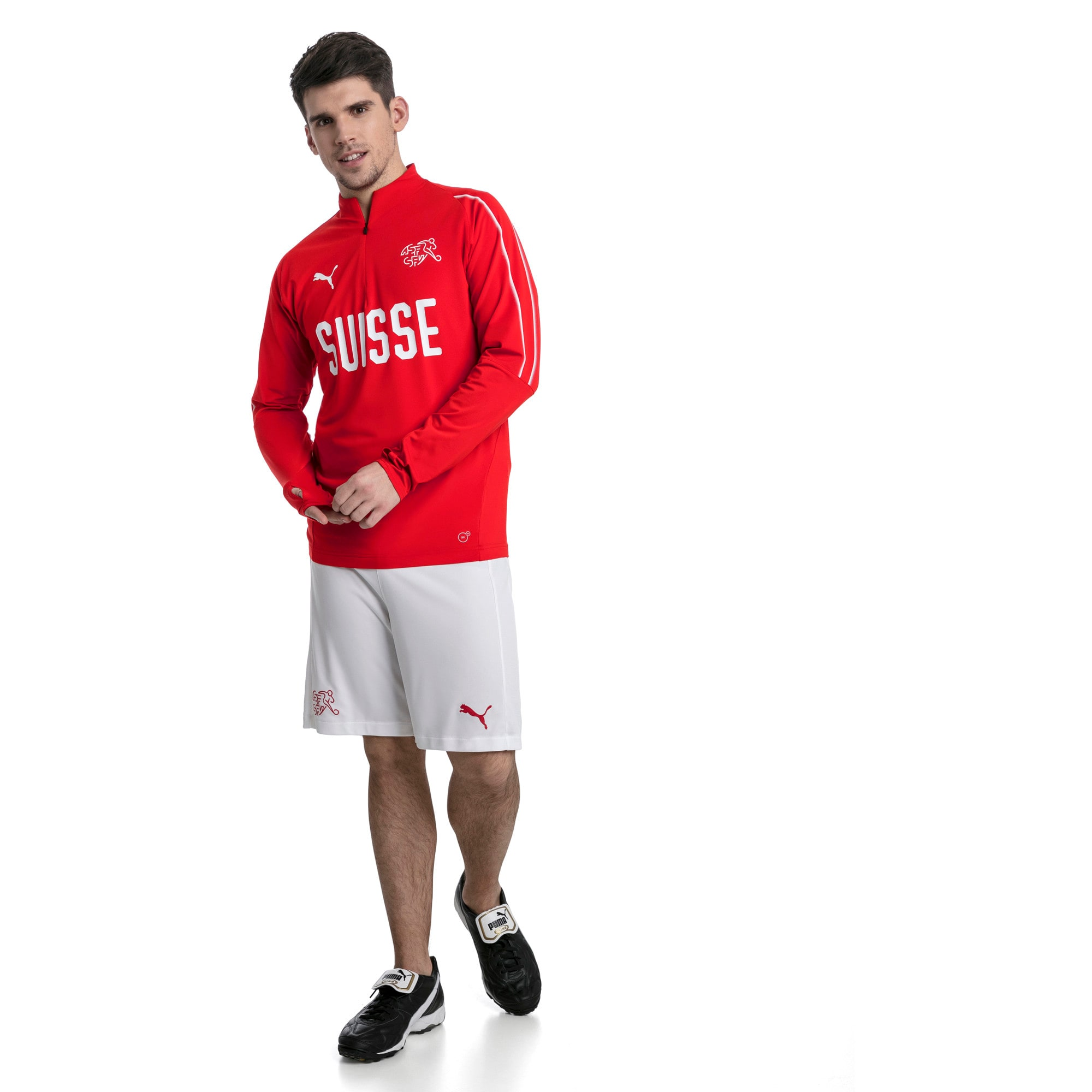 Thumbnail 5 of Trainingstop van Zwitserland met korte rits, Puma Red-Puma White, medium
