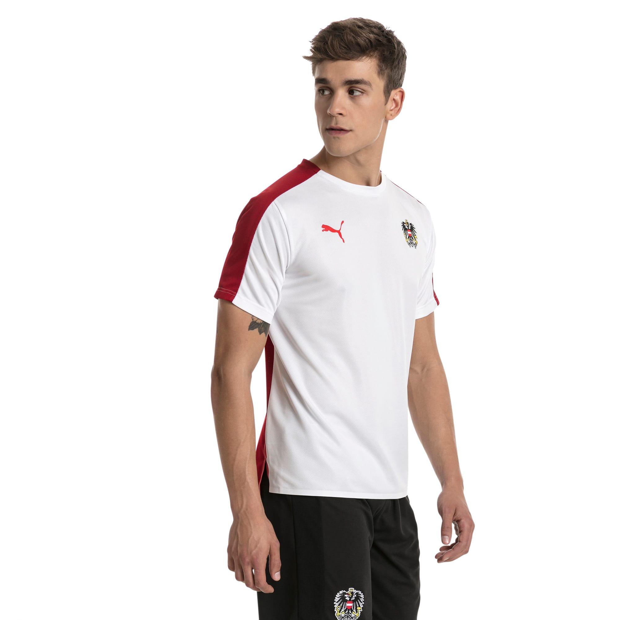 Thumbnail 2 of Austria Men's Stadium Jersey, Puma White-Red Dahlia, medium