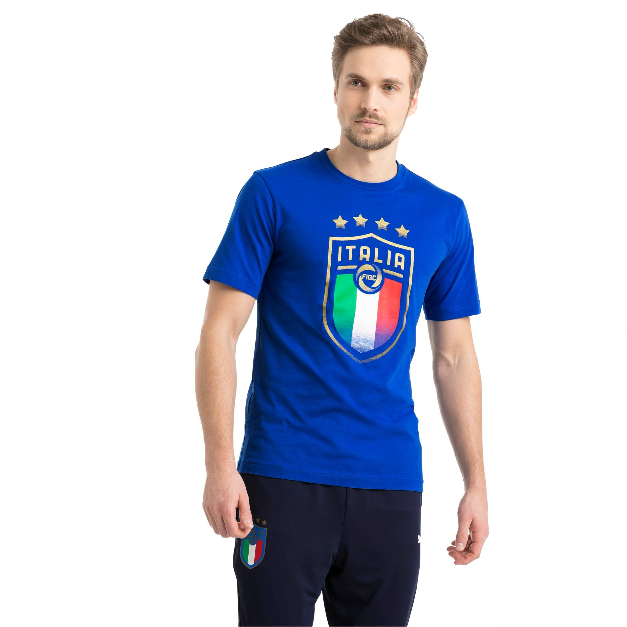 PUMA FIGC Italia Badge tee Camiseta Hombre