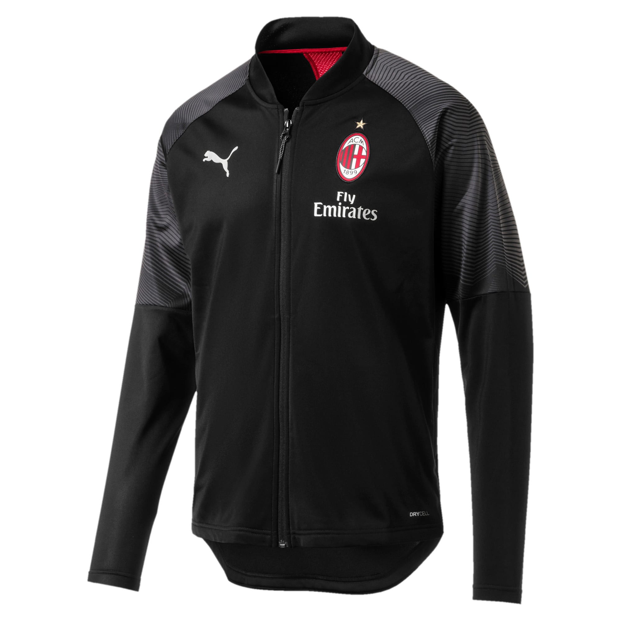 Thumbnail 2 of AC Milan Stadium Men's Poly Jacket, Puma Black-Tango Red, medium