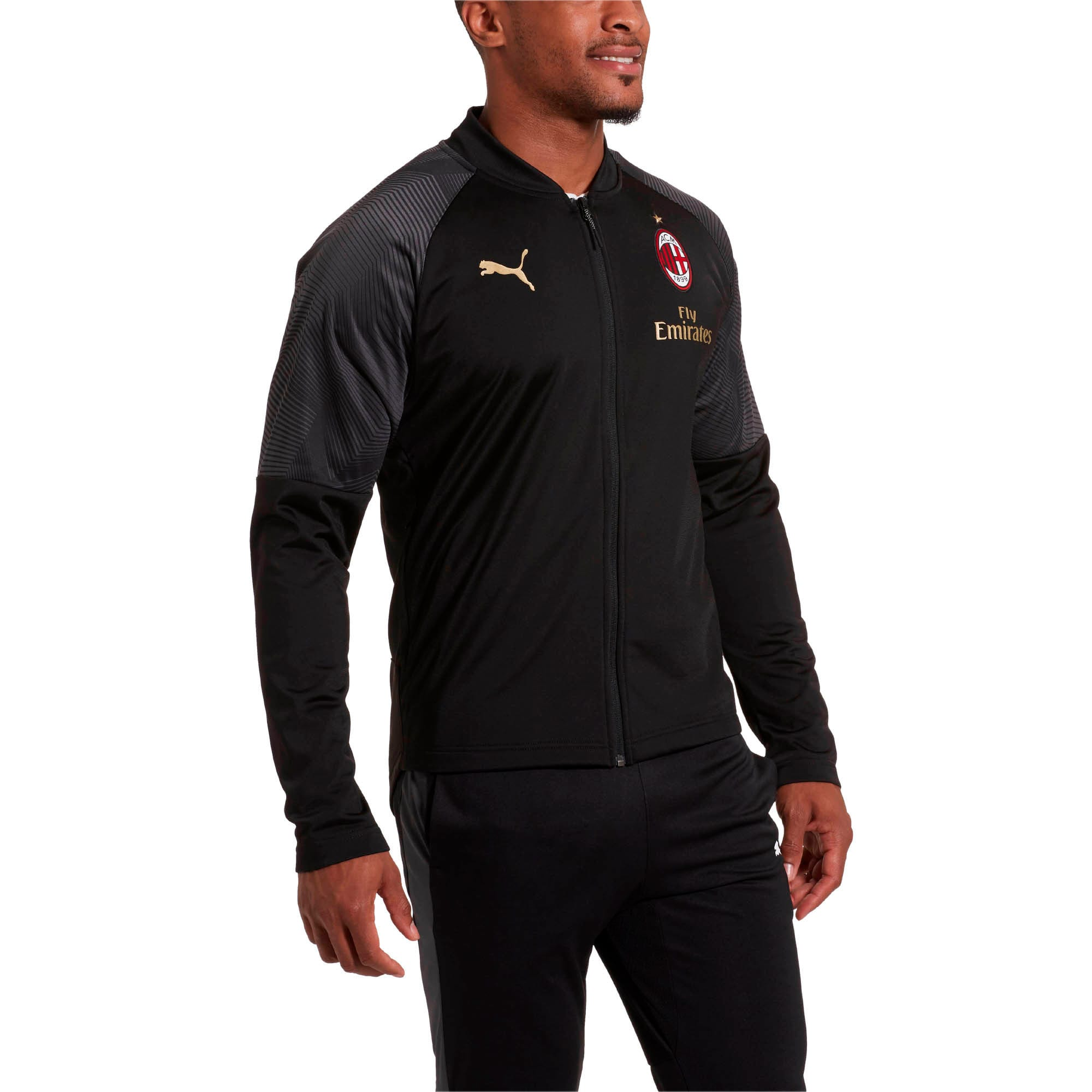 Thumbnail 1 of AC Milan Stadium Men's Poly Jacket, Puma Black-Tango Red, medium