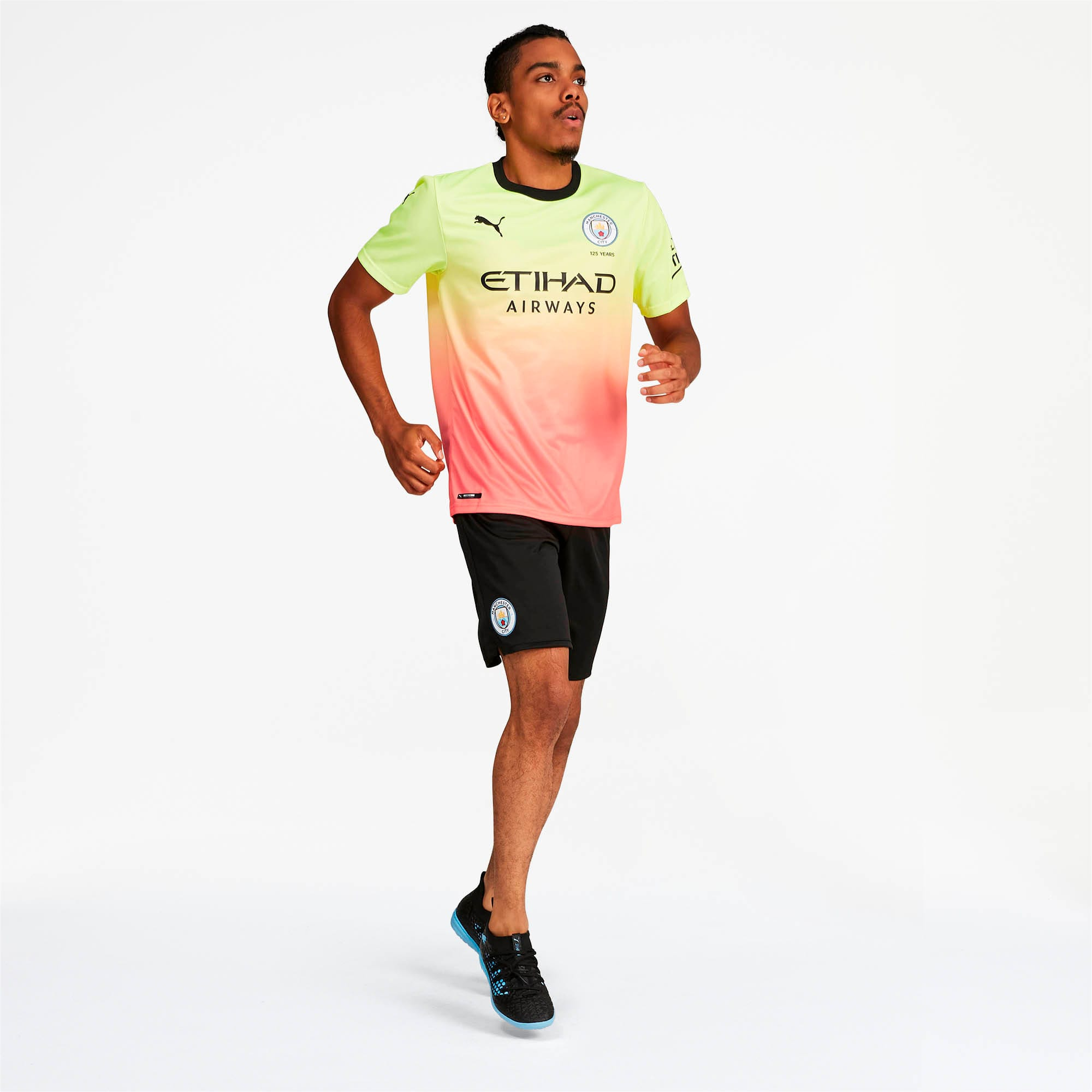 Manchester City FC Men's Third Replica Jersey, Fizzy Yellow-Georgia Peach, large
