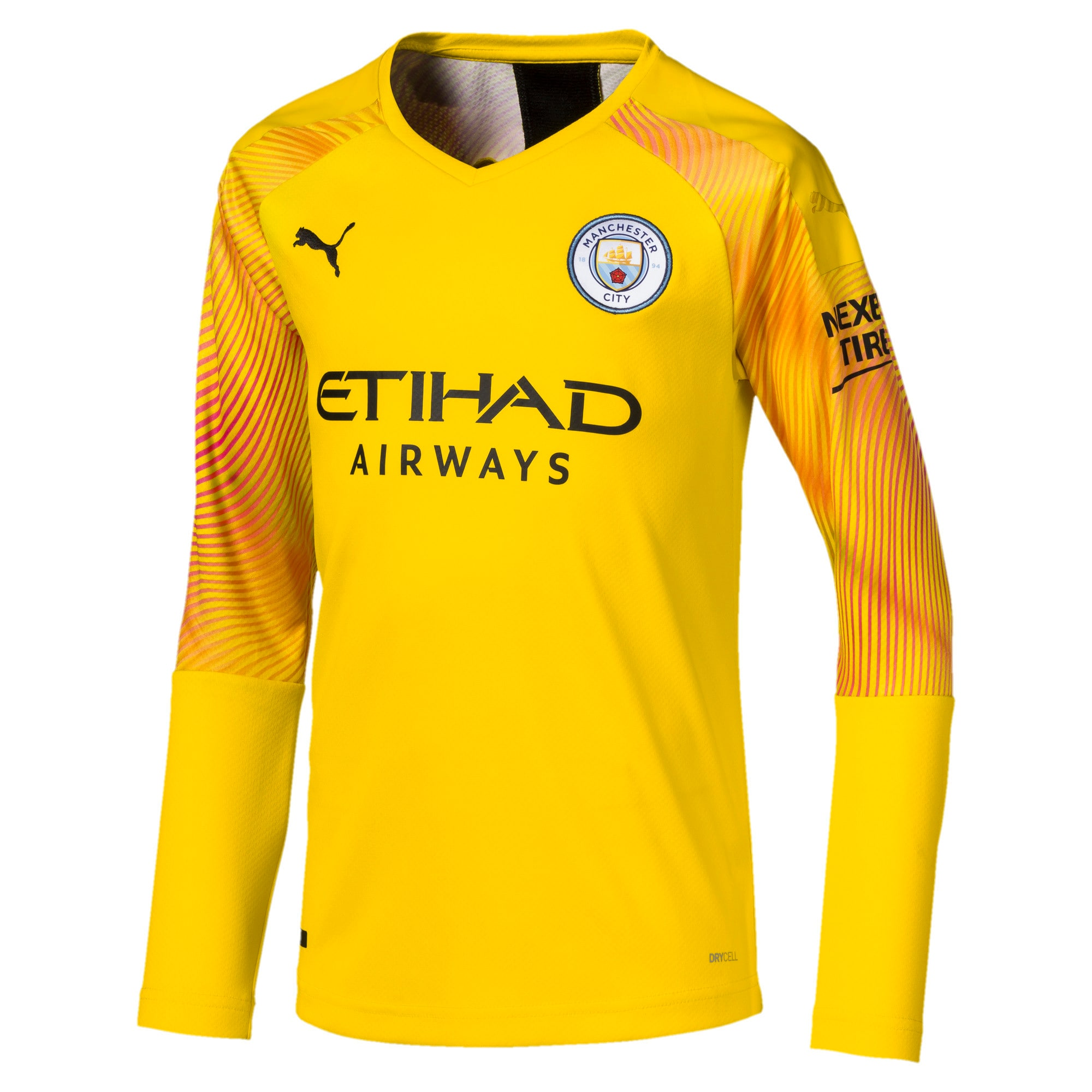 Thumbnail 1 of Man City Long Sleeve Kids' Replica Goalkeeper Jersey, Cyber Yellow-Puma Black, medium