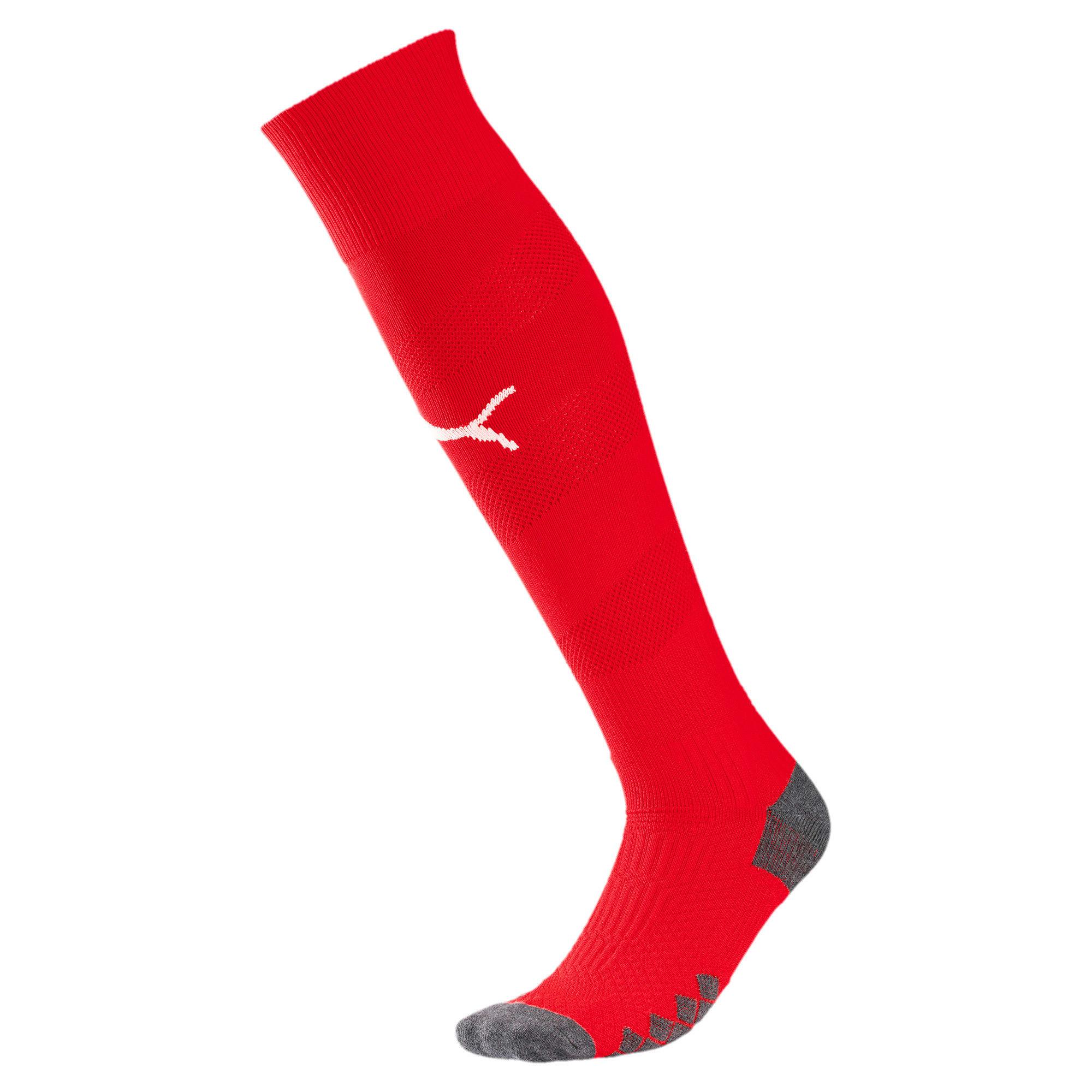 Thumbnail 1 of Olympique de Marseille Spiral Socks, Puma Red-Puma White, medium