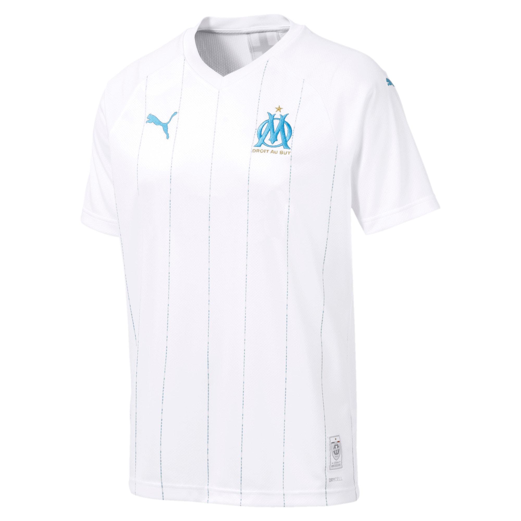 Thumbnail 4 of Olympique de Marseille Men's Home Replica Jersey, Puma White-Bleu Azur, medium