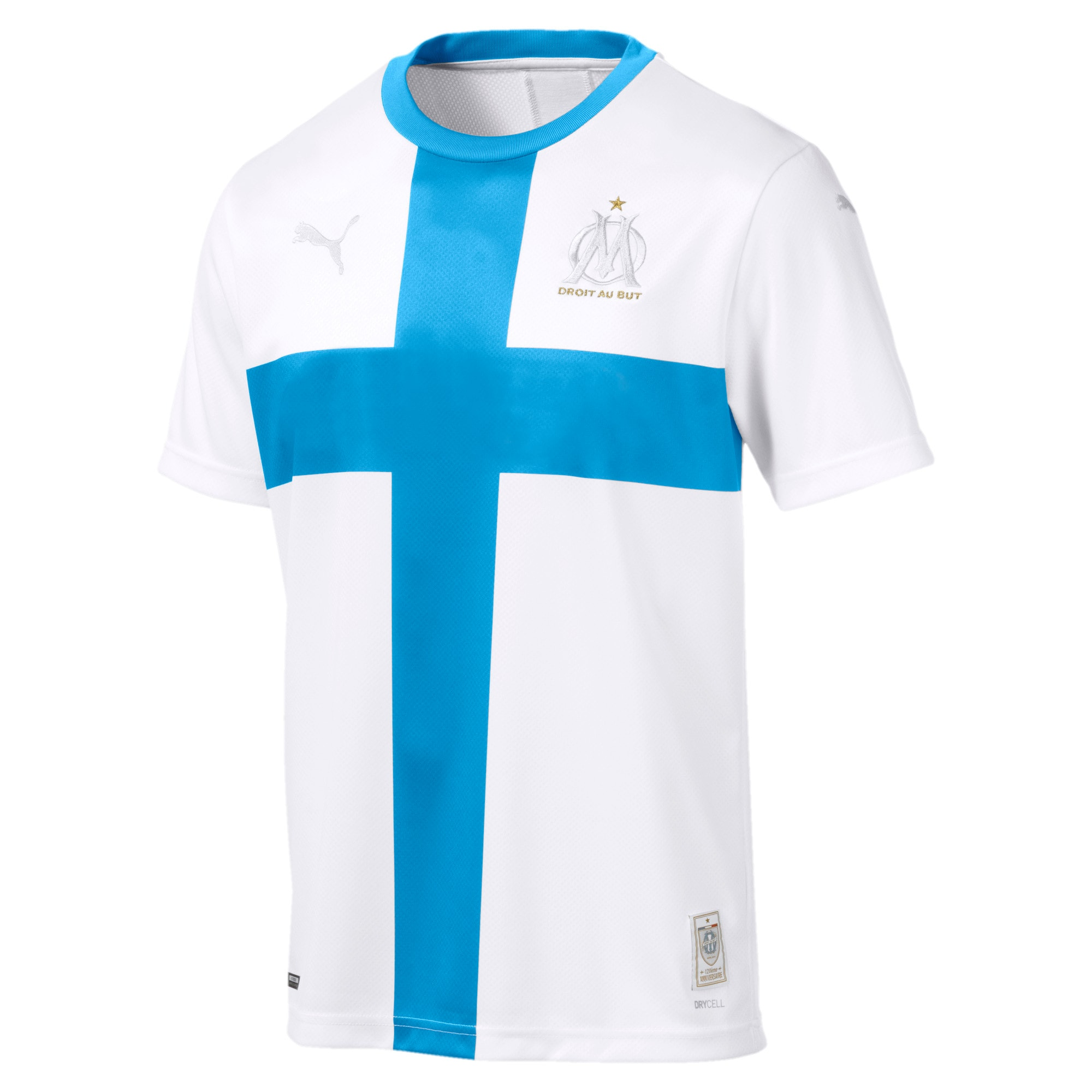 Thumbnail 1 of Olympique de Marseille 120th Anniversary Short Sleeve Men's Replica Jersey, Puma White-Bleu Azur, medium