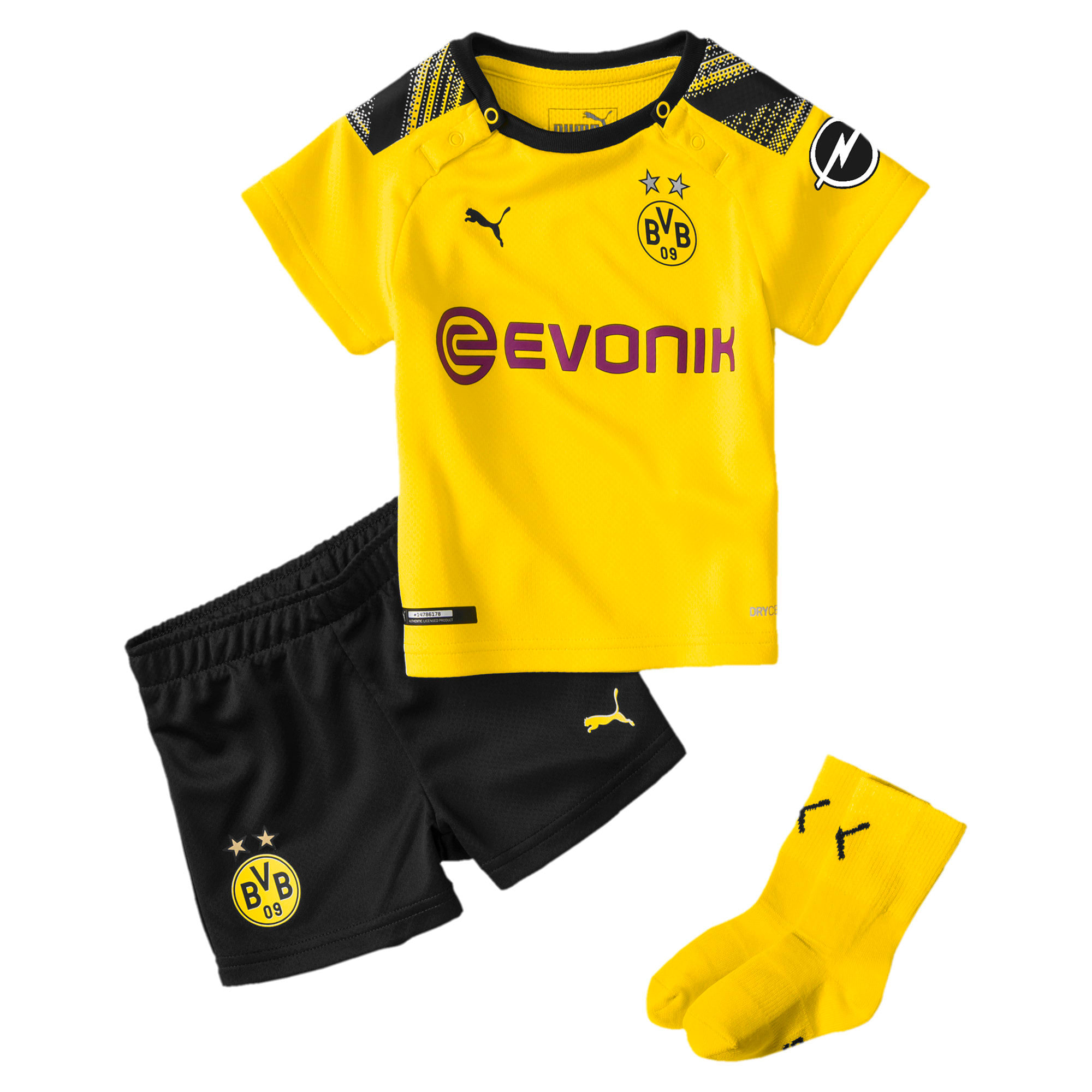 Thumbnail 1 of BVB mini-thuisset voor baby's, Cyber Yellow-Puma Black, medium