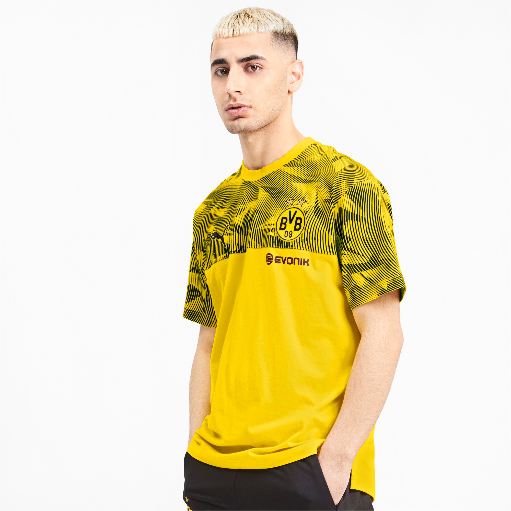 Thumbnail 1 of BVB Casuals Men's Tee, Cyber Yellow-Puma Black, medium