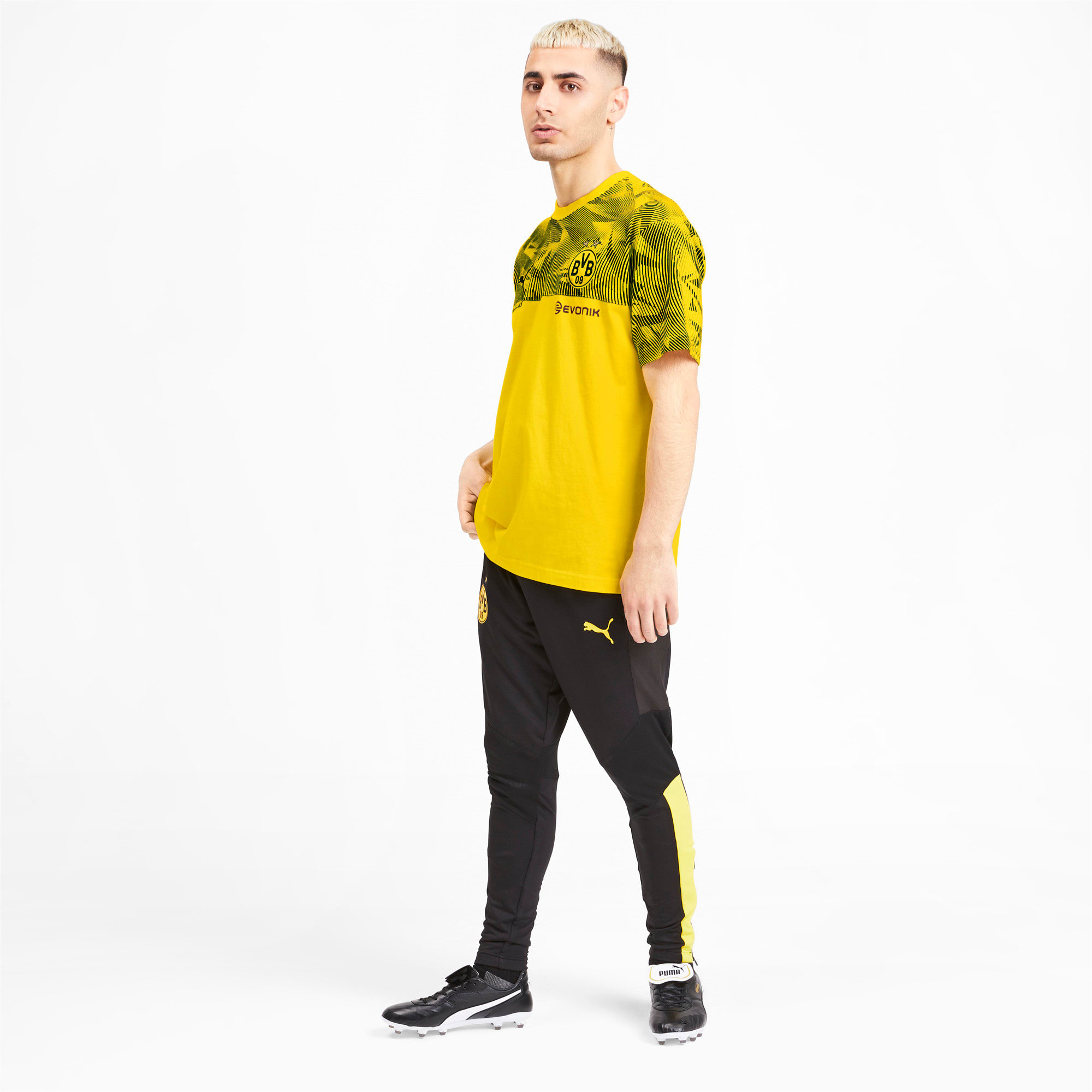 Thumbnail 3 of BVB Casuals Men's Tee, Cyber Yellow-Puma Black, medium