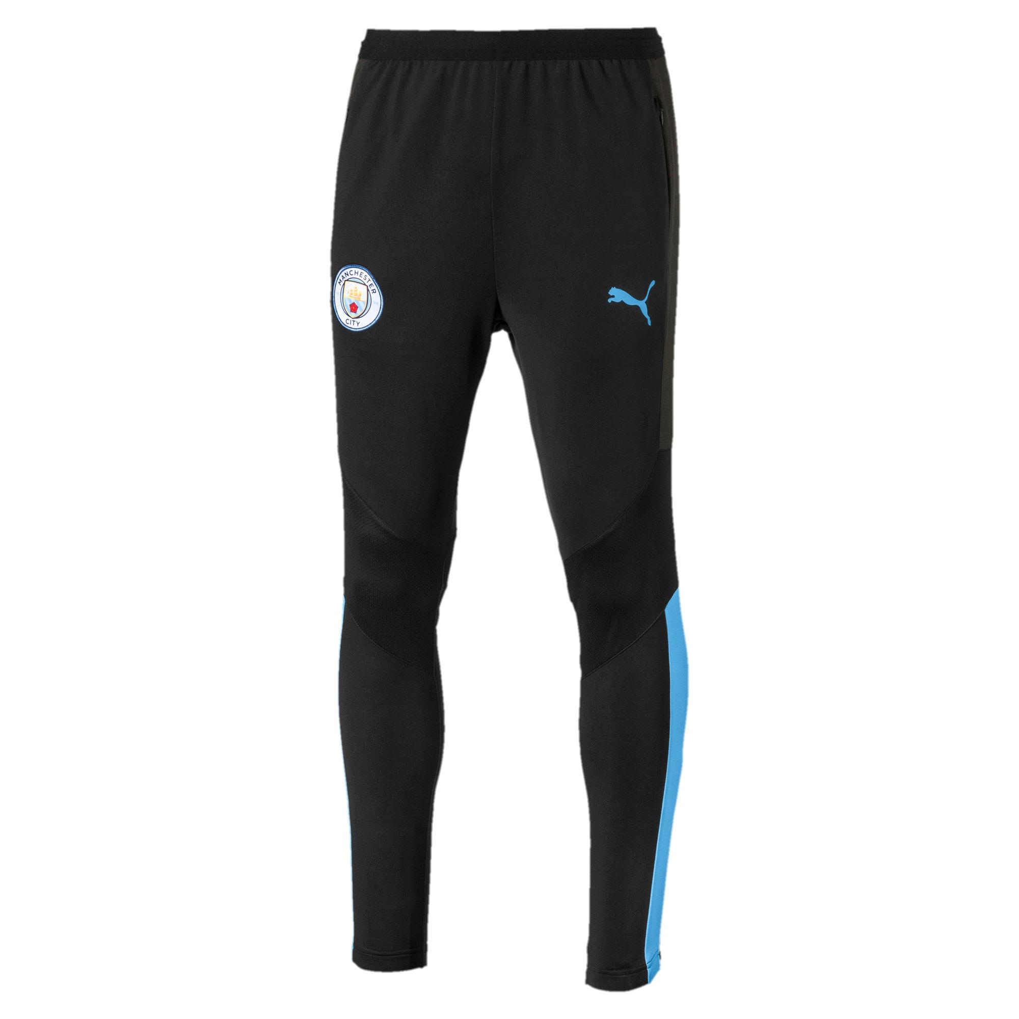 Thumbnail 1 of Manchester City FC Men's Pro Training Pants, Puma Black-Team Light Blue, medium