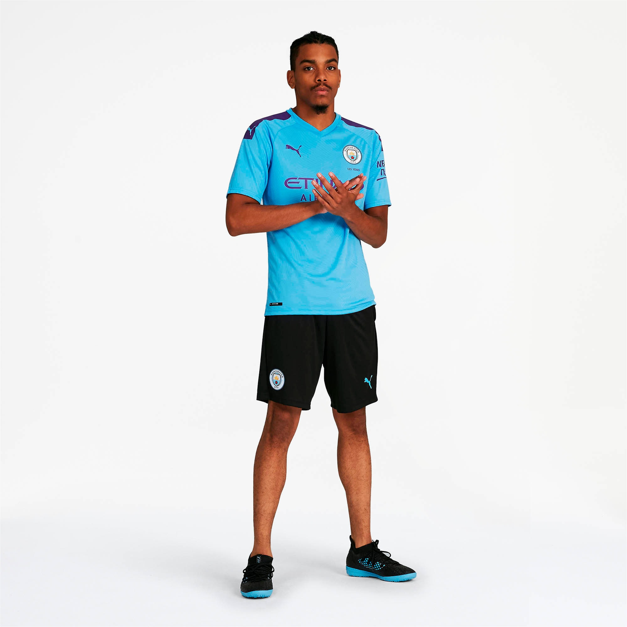 Thumbnail 3 of Manchester City FC Men's Training Shorts, Puma Black-Team Light Blue, medium
