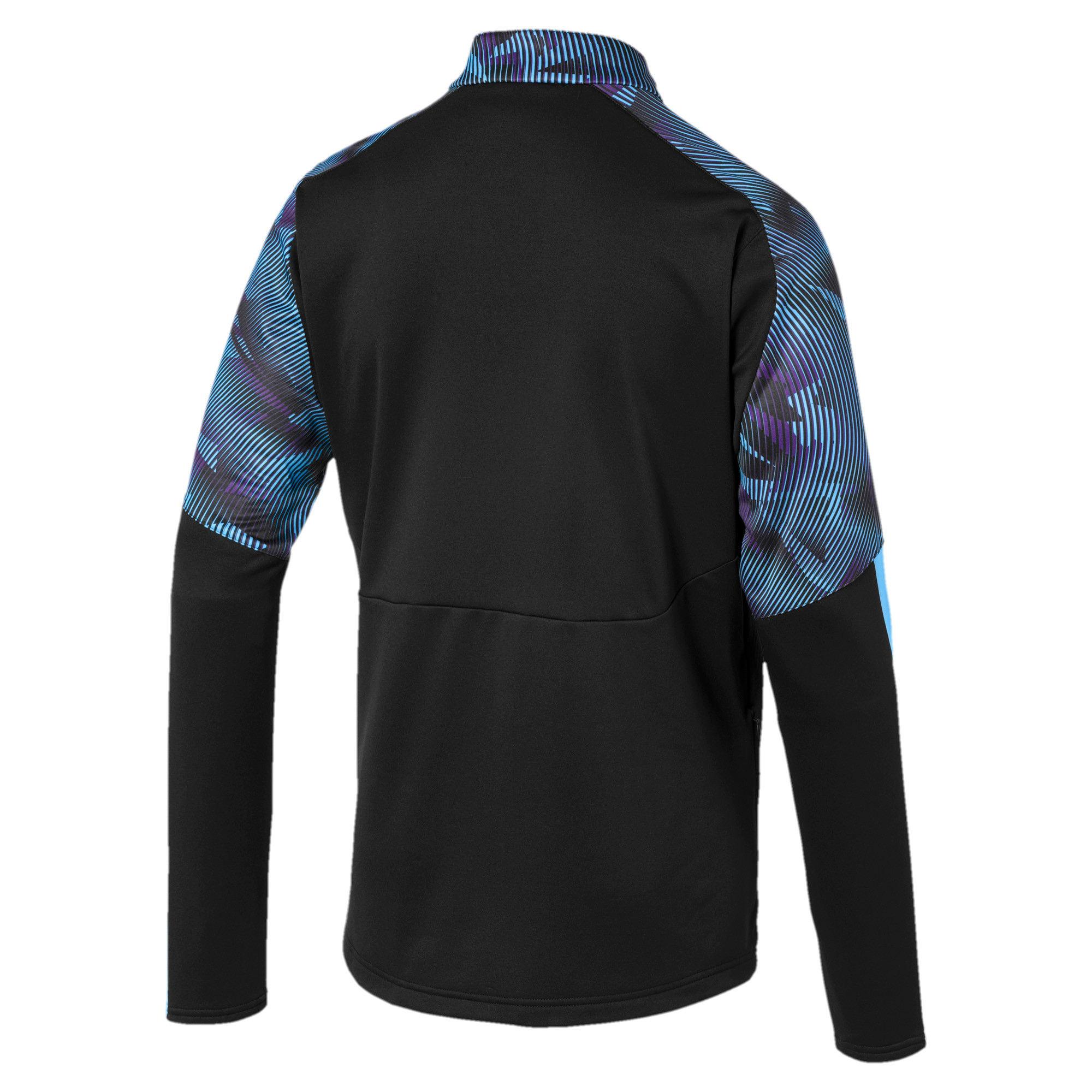 Thumbnail 2 of Man City Men's Training Fleece, Puma Black-Team Light Blue, medium