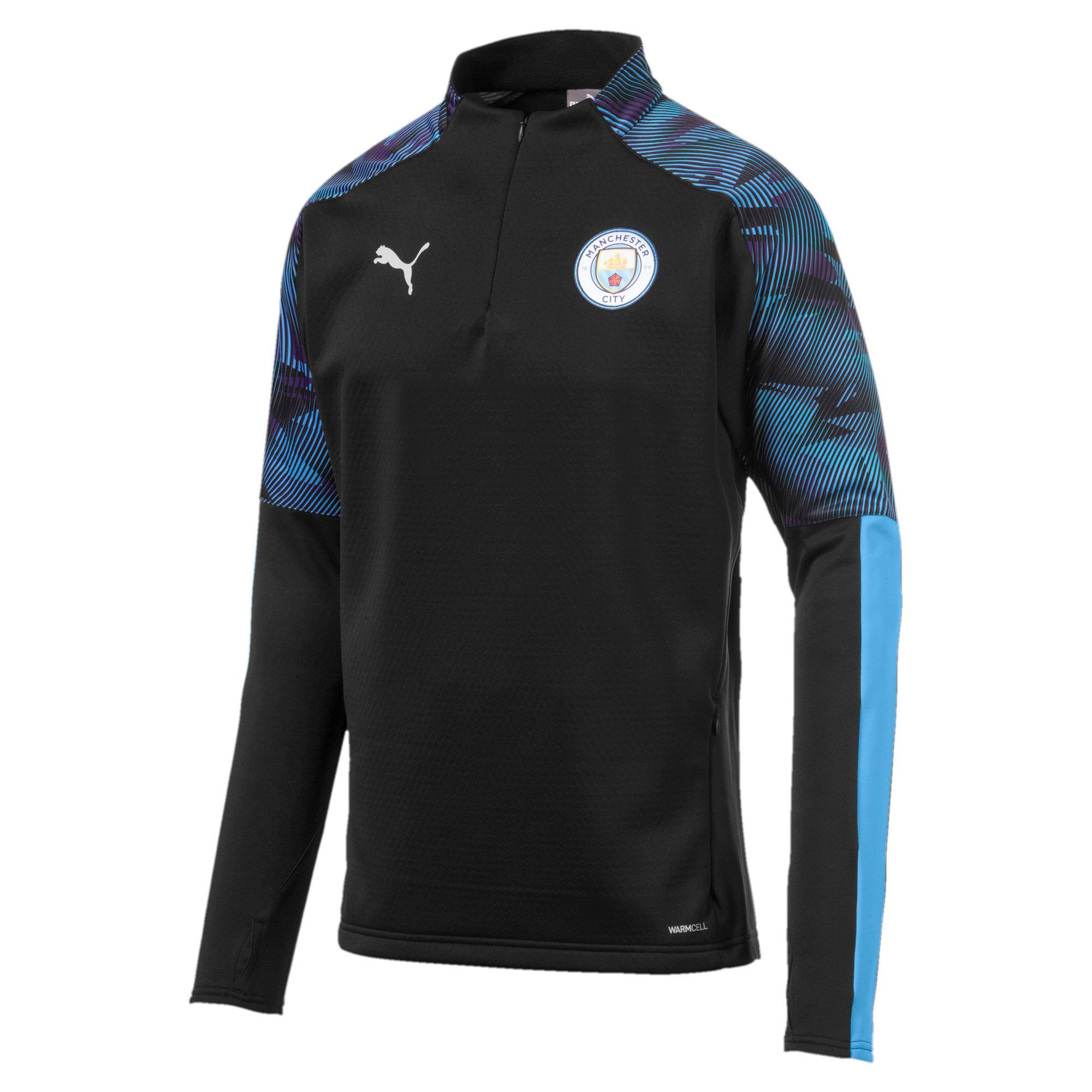 Thumbnail 1 of Man City Men's Training Fleece, Puma Black-Team Light Blue, medium