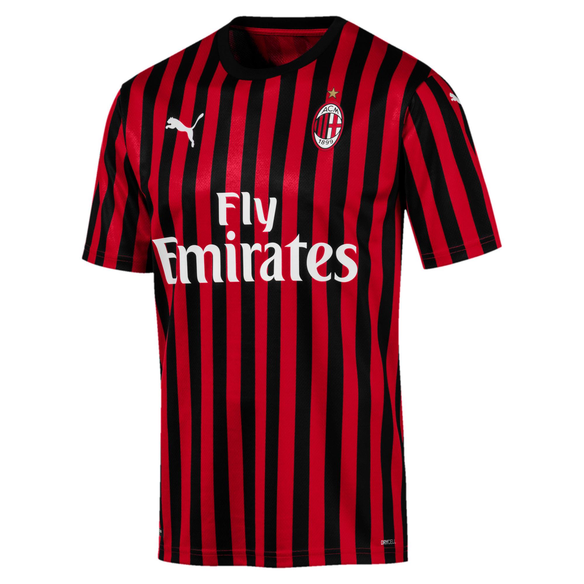 Thumbnail 1 of AC Milan Home Authentic Short Sleeve Men's Jersey, Tango Red -Puma Black, medium