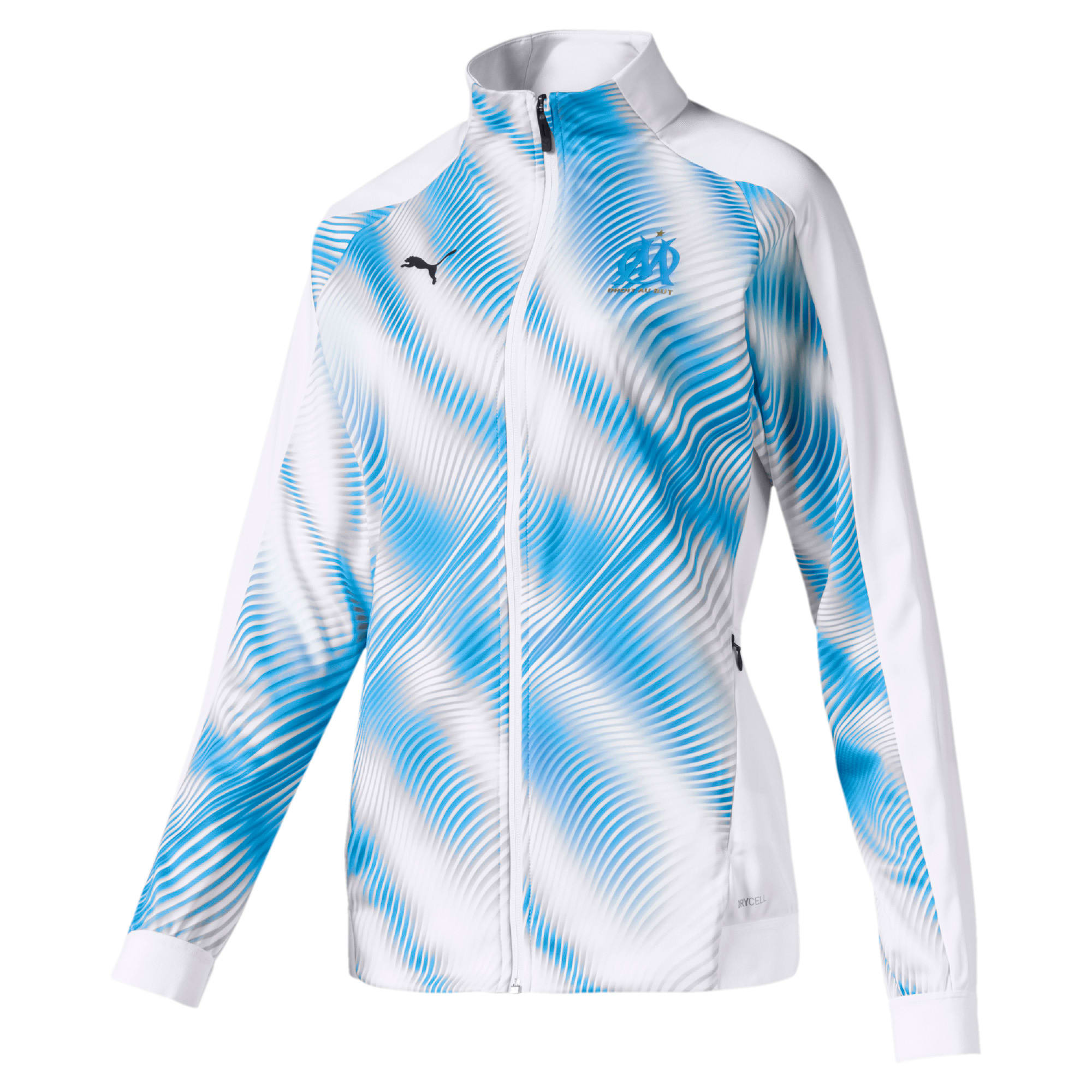 Thumbnail 1 of Olympique de Marseille Stadium Women's Replica Jacket, Puma White-Bleu Azur, medium