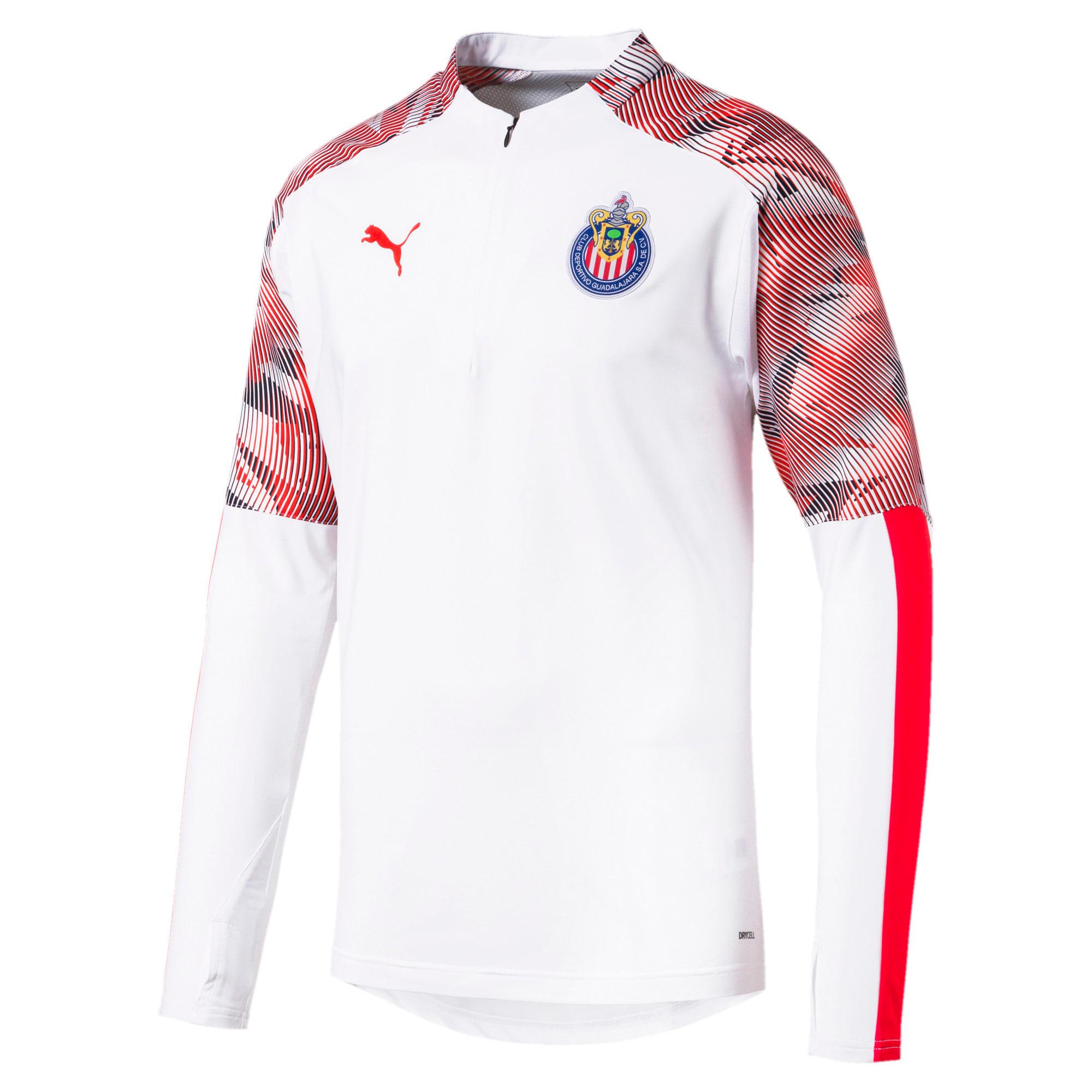 Thumbnail 1 of Chivas Men's Quarter Zip Top, Puma White-Puma Red, medium