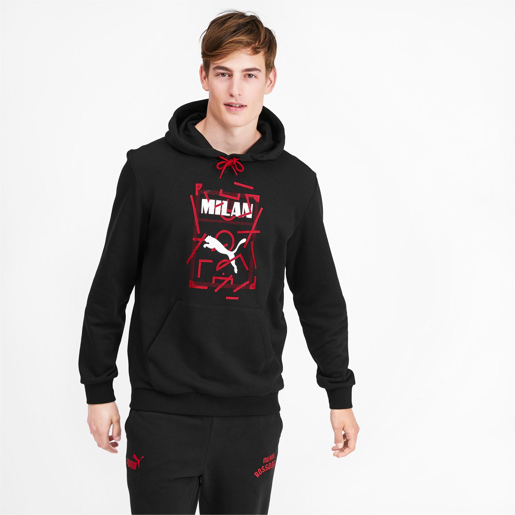Miniatura 2 de Chaqueta con capucha AC Milan DNA para hombre, Puma Black-Tango Red, mediano