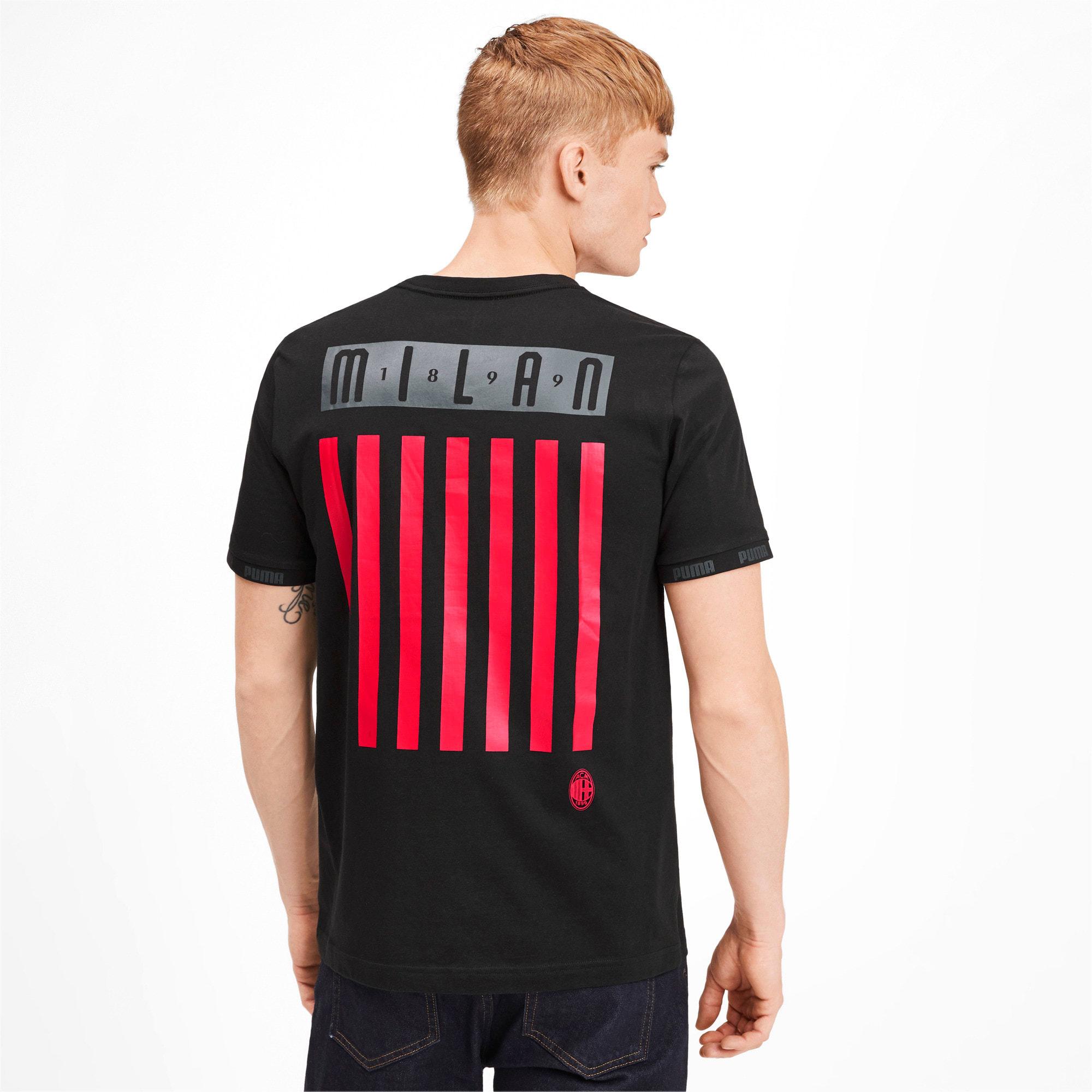 Thumbnail 2 of AC Milan Men's Football Culture Tee, Cotton Black-tango red, medium