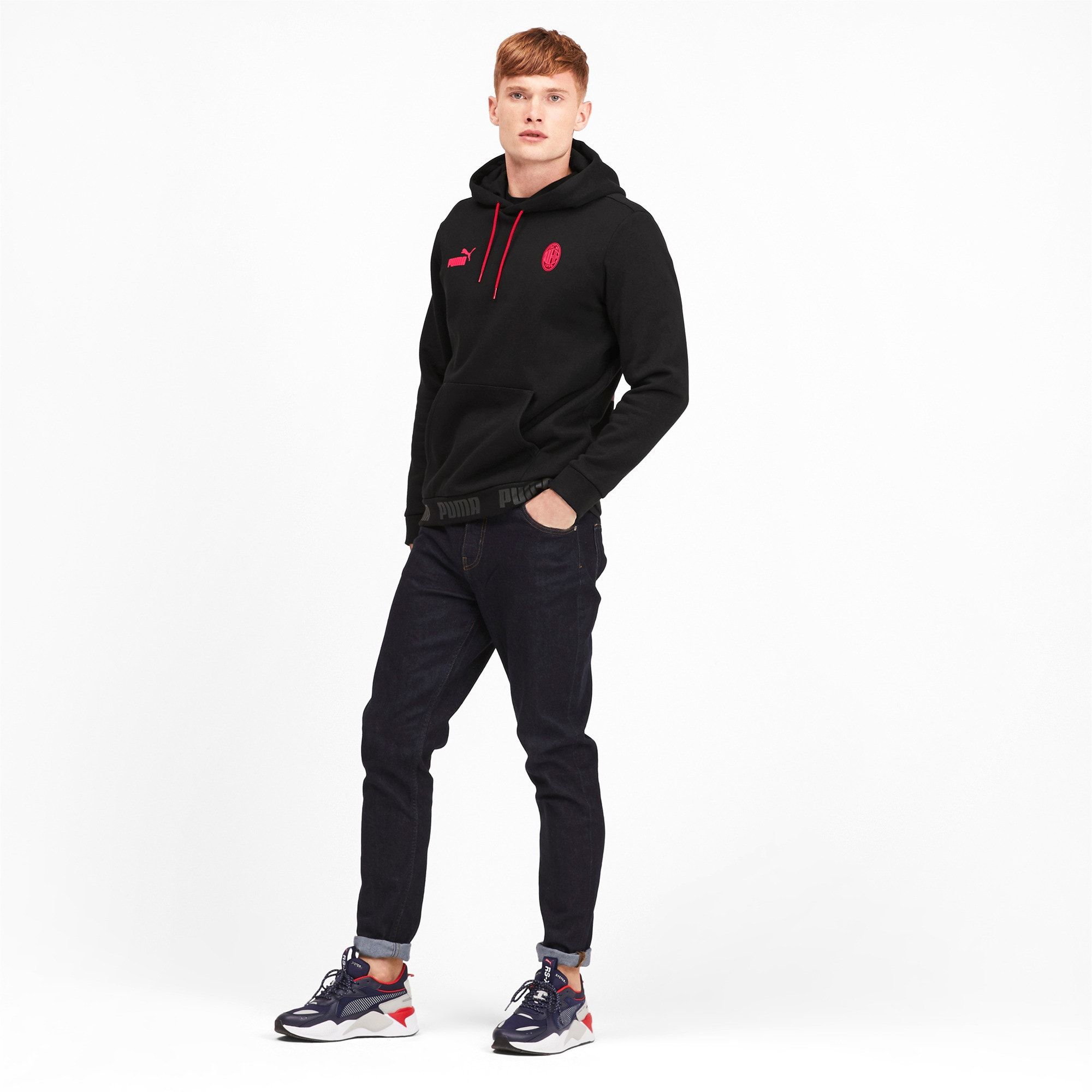 Thumbnail 3 of AC Milan hoodie voor heren, Puma Black-Tango Red, medium