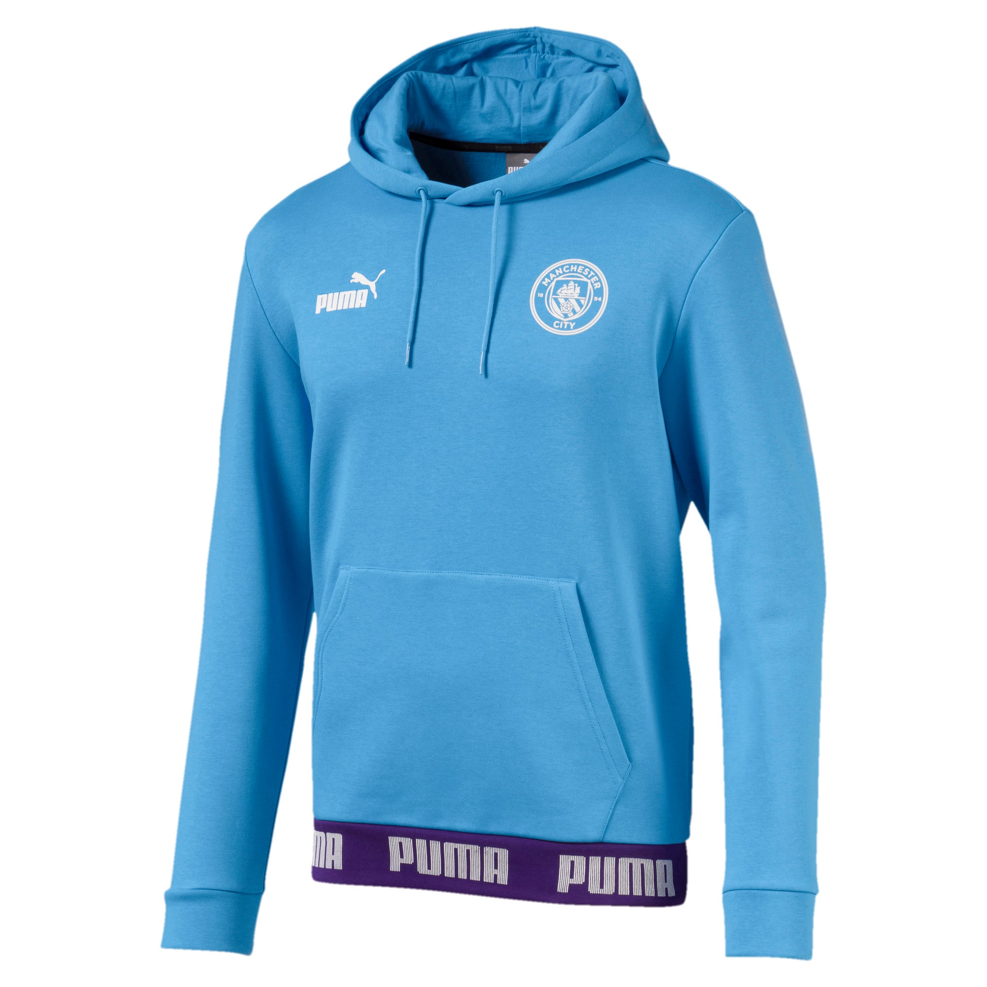 Man City Football Culture Men's Hoodie, Team Light Blue-Puma White, large