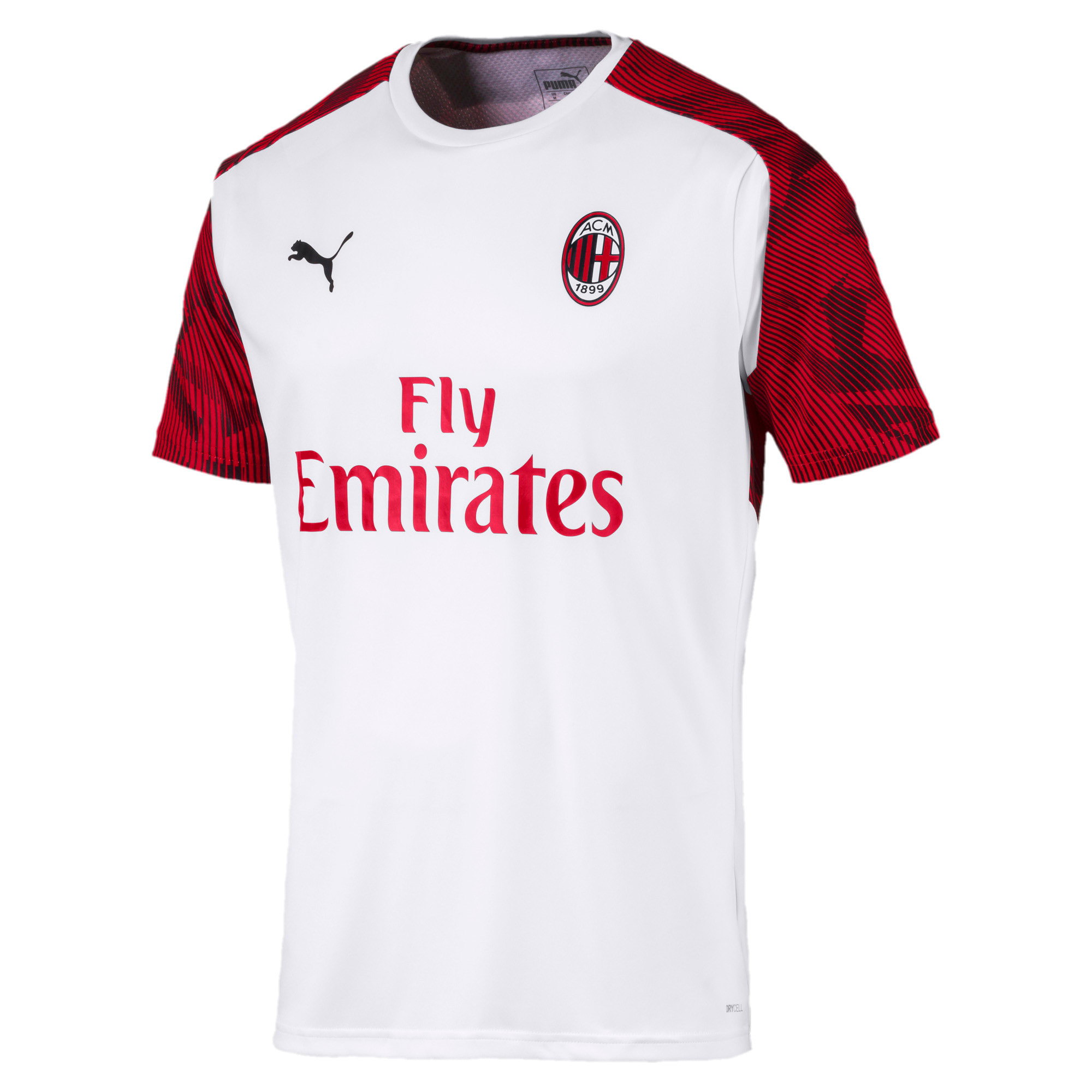 Thumbnail 4 of AC Milan Short Sleeve Men's Training Jersey, Puma White-Tango Red, medium