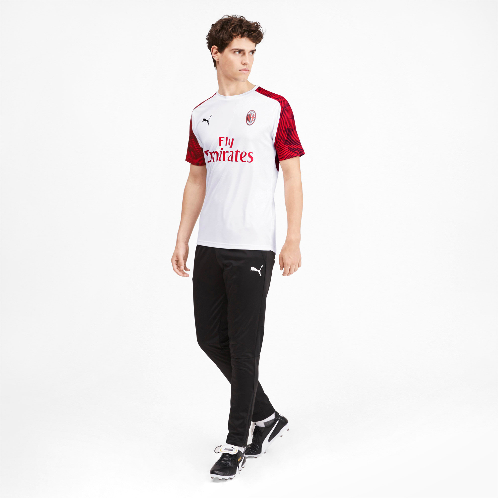 Thumbnail 3 of AC Milan Short Sleeve Men's Training Jersey, Puma White-Tango Red, medium