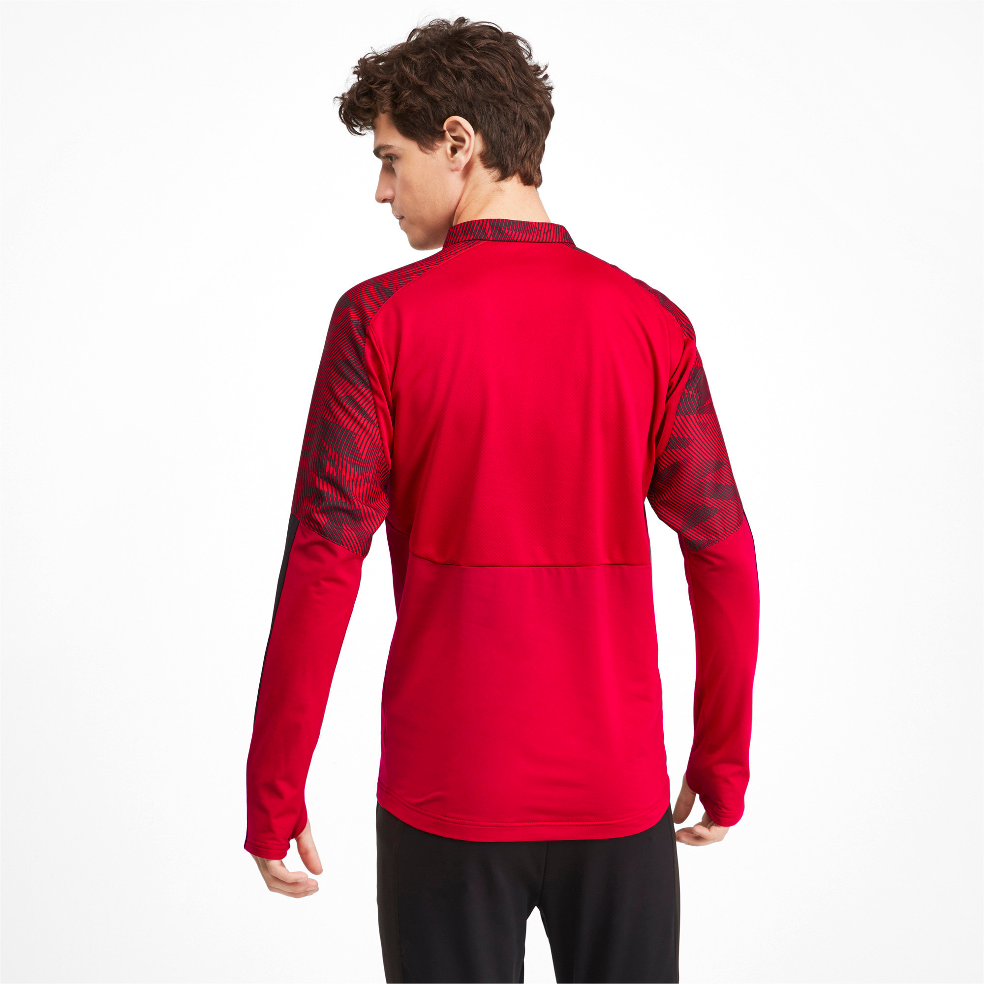 Thumbnail 2 of AC Milan Quarter Zip  Men's Top, Tango Red -Puma Black, medium