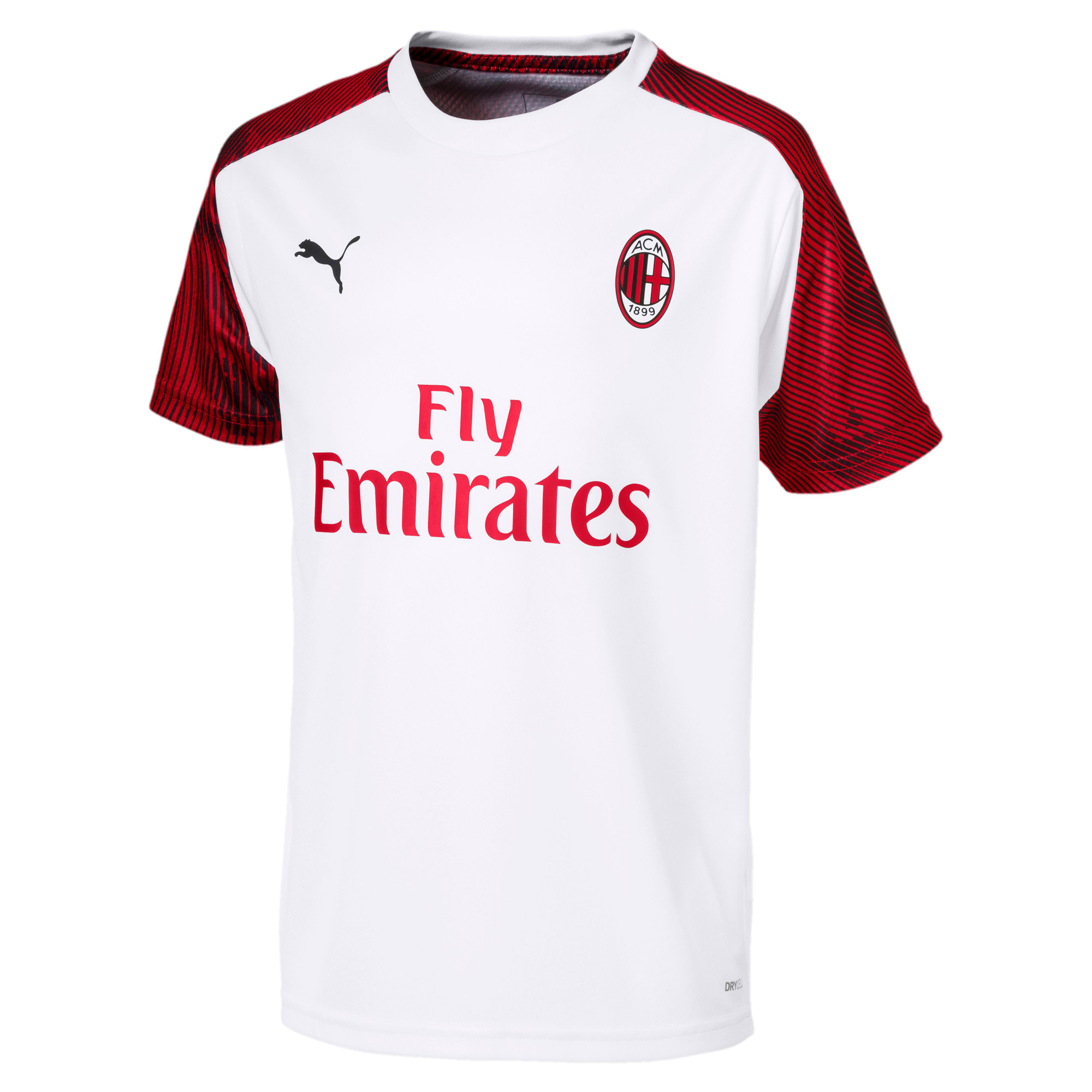 AC Milan Short Sleeve Kids' Training Jersey, Puma White-Tango Red, large