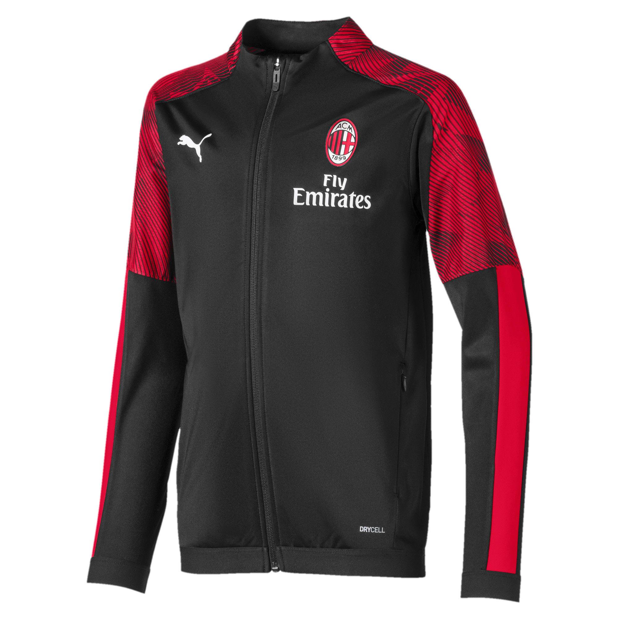 Thumbnail 1 of AC Milan Boys' Poly Jacket, Puma Black-Tango Red, medium