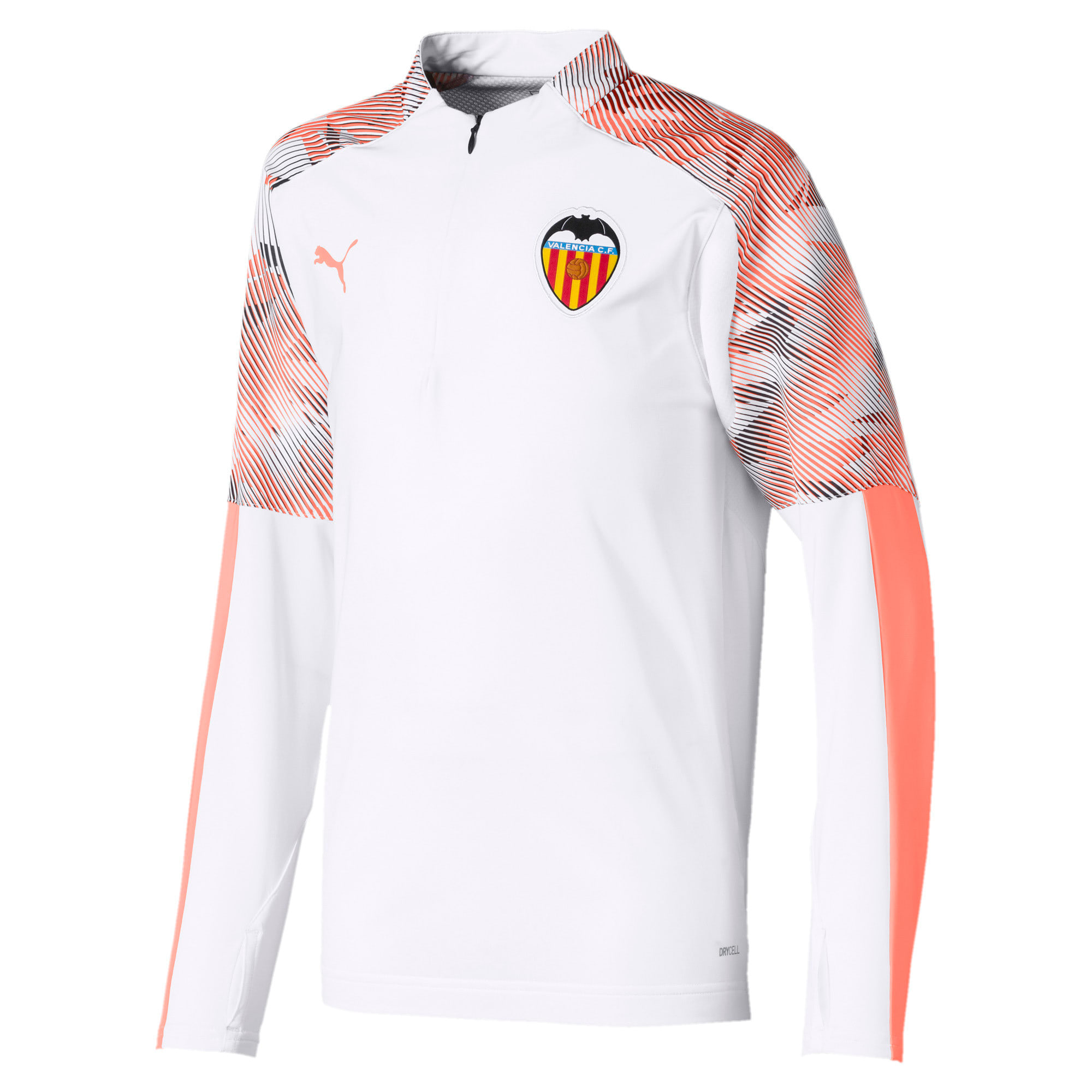 Thumbnail 1 of Valencia CF Quarter Zip Kids' Training Top, Puma White-Fizzy Orange, medium