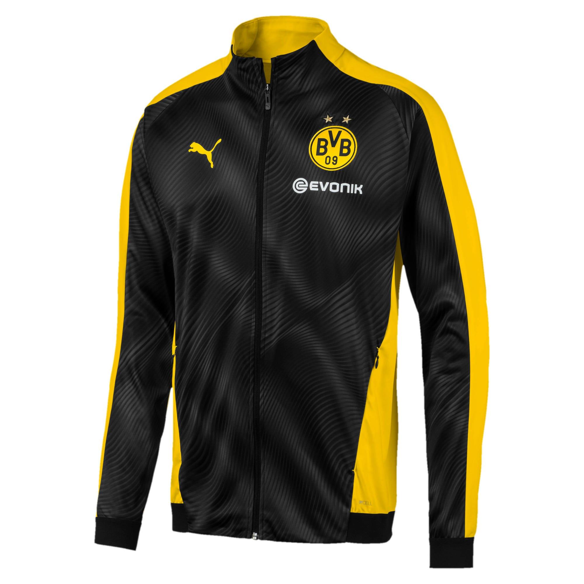 Thumbnail 1 of BVB Men's League Stadium Jacket, Cyber Yellow-Puma Black, medium