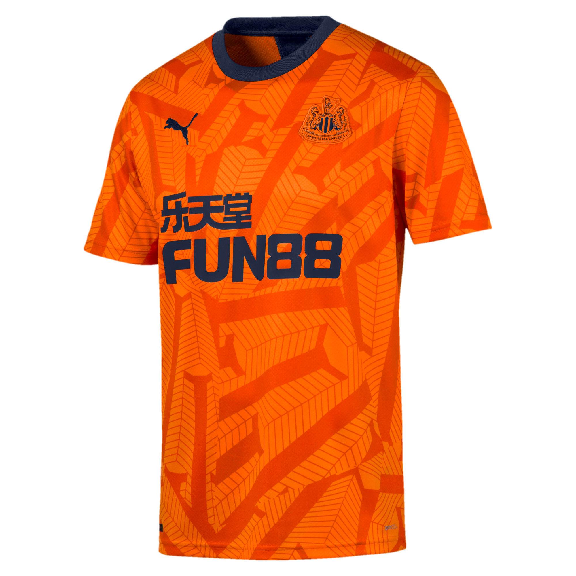 Thumbnail 1 of Newcastle United FC Men's Third Replica Short Sleeve Jersey, Vibrant Orange-Peacoat, medium