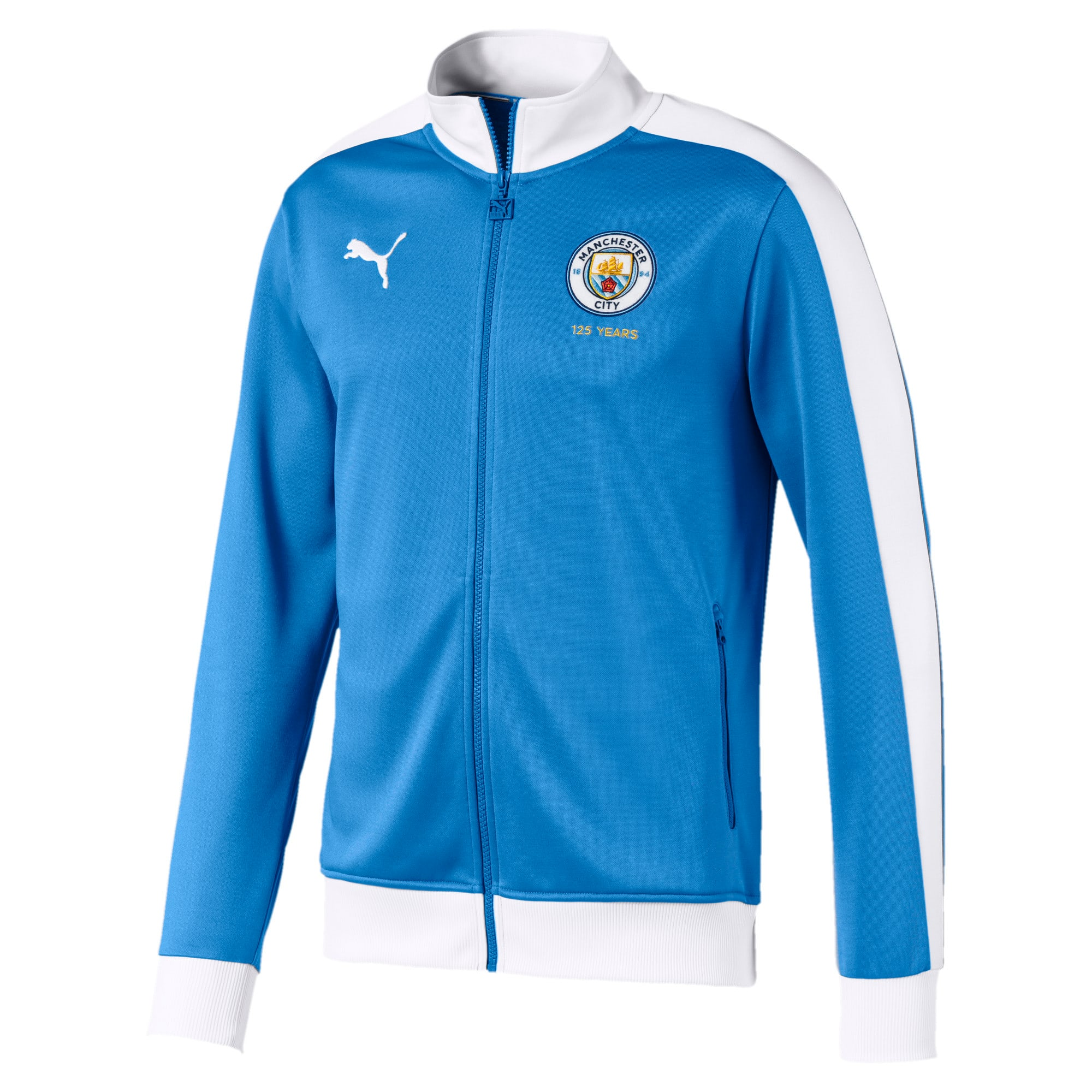 Thumbnail 1 of Manchester City T7 Men's 125 Year Anniversary Track Jacket, Marina-Puma White, medium
