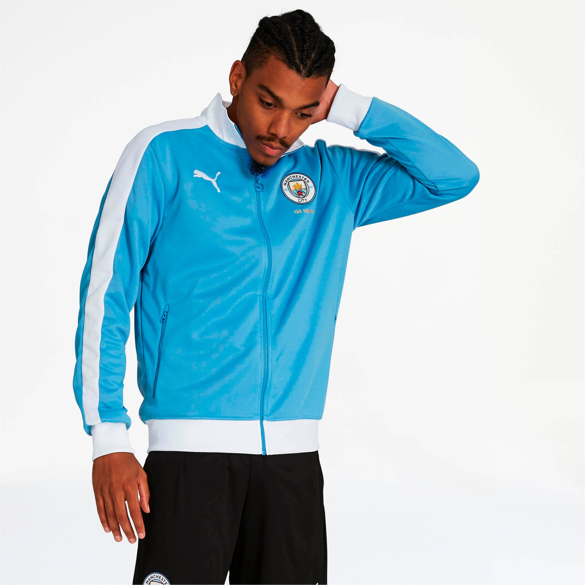 Manchester City FC 125th Anniversary Men's T7 Track Jacket, Marina-Puma White, large