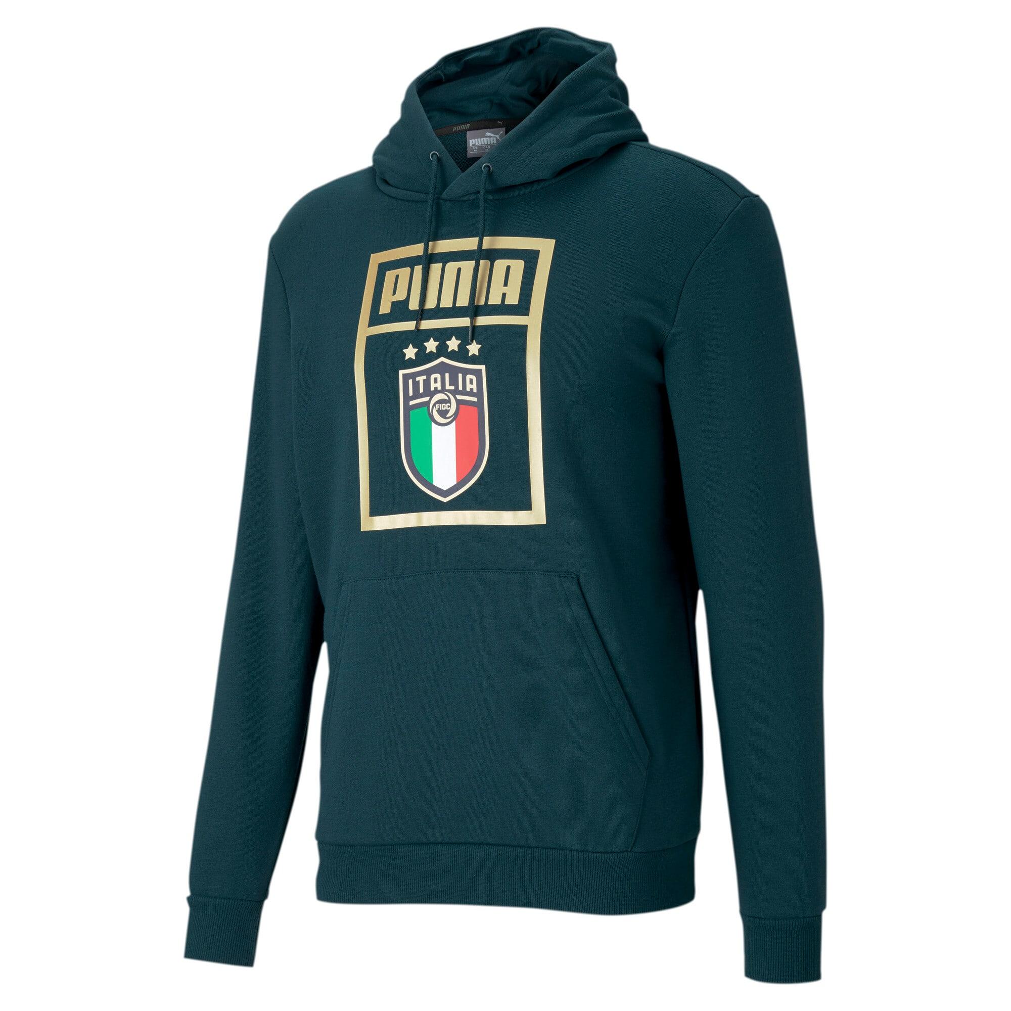 Thumbnail 1 of FIGC PUMA DNA Men's Hoodie, Ponderosa Pine-Team Gold, medium