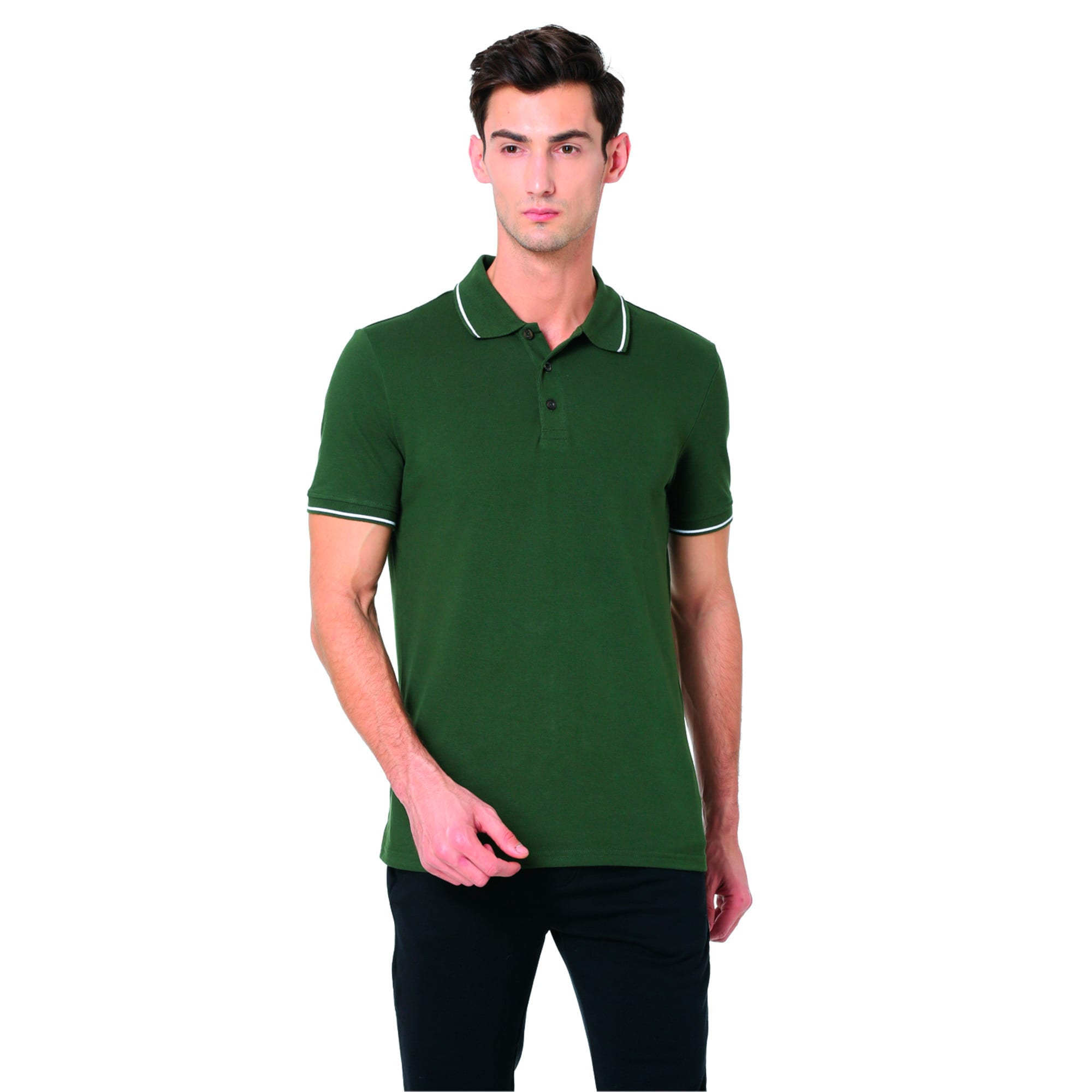 Thumbnail 4 of Men s ESS Tipping Polo, olive night-white, medium-IND